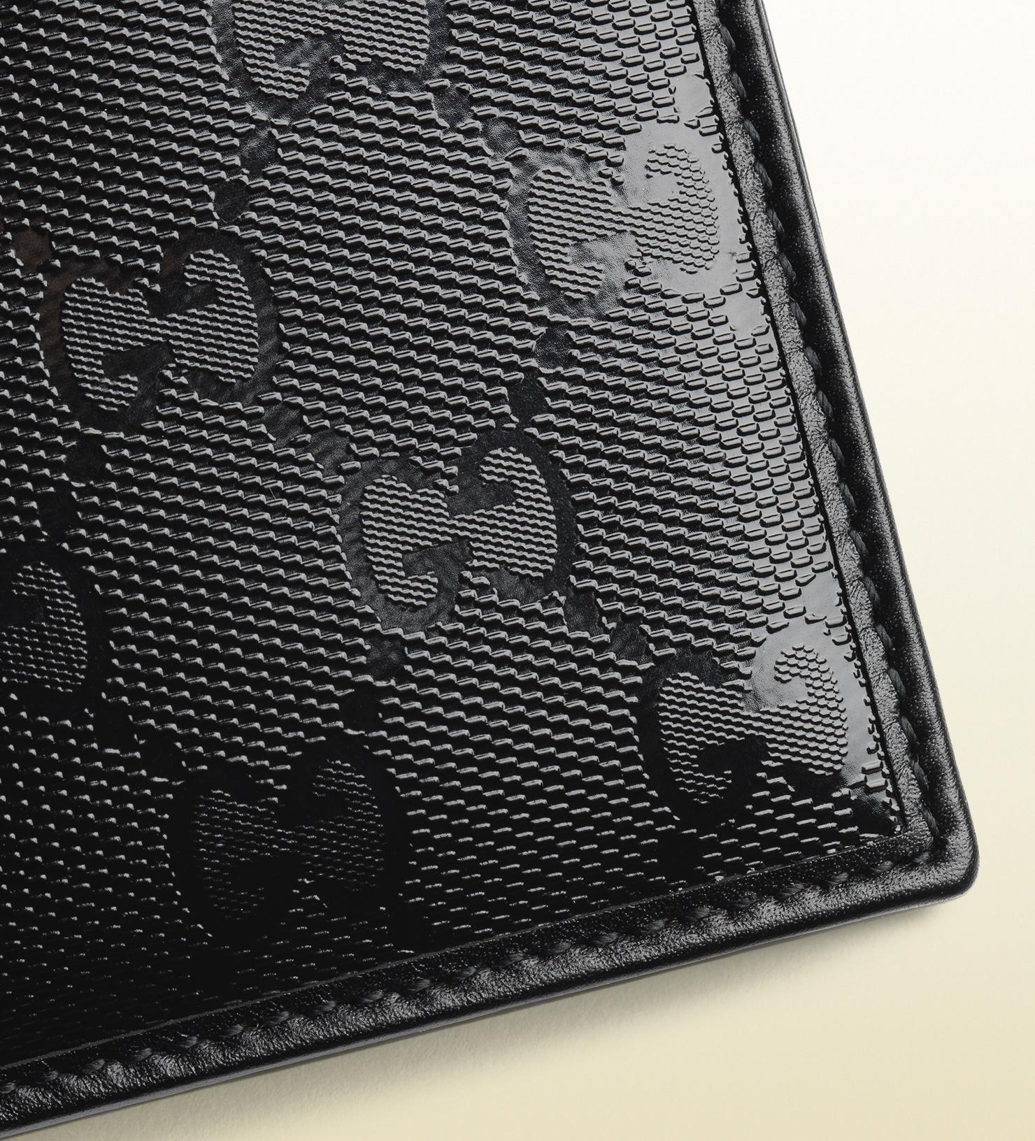 Gucci Gg Imprimé Leather Bi-fold Wallet in Black - Lyst