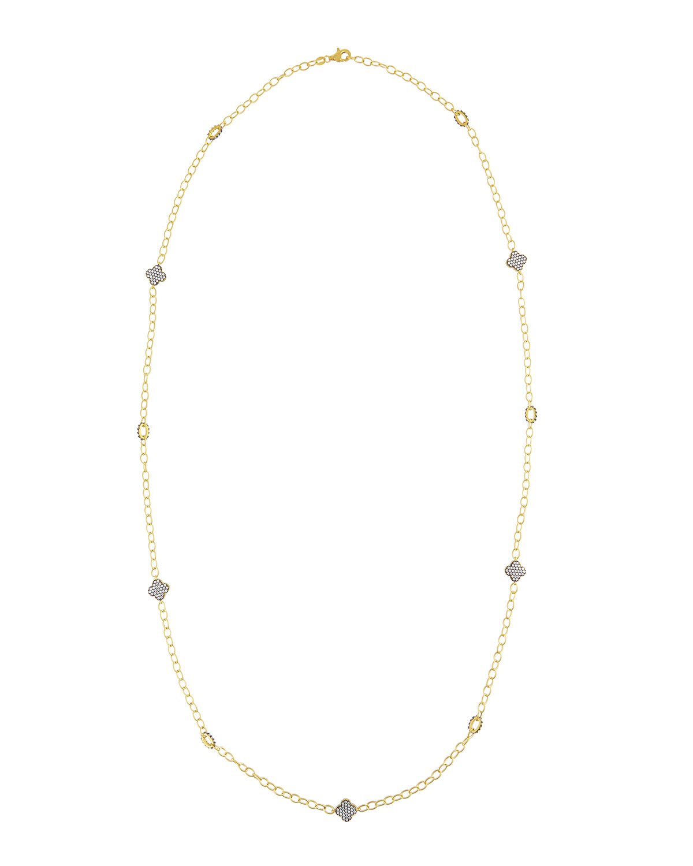 Freida Rothman Long 14k Vermeil Clover Station Necklace In
