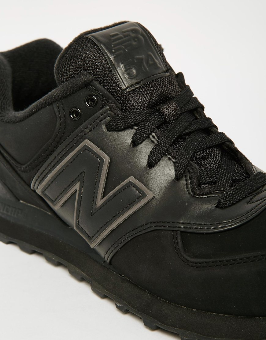 New balance 574 Mono Trainers in Black for Men | Lyst