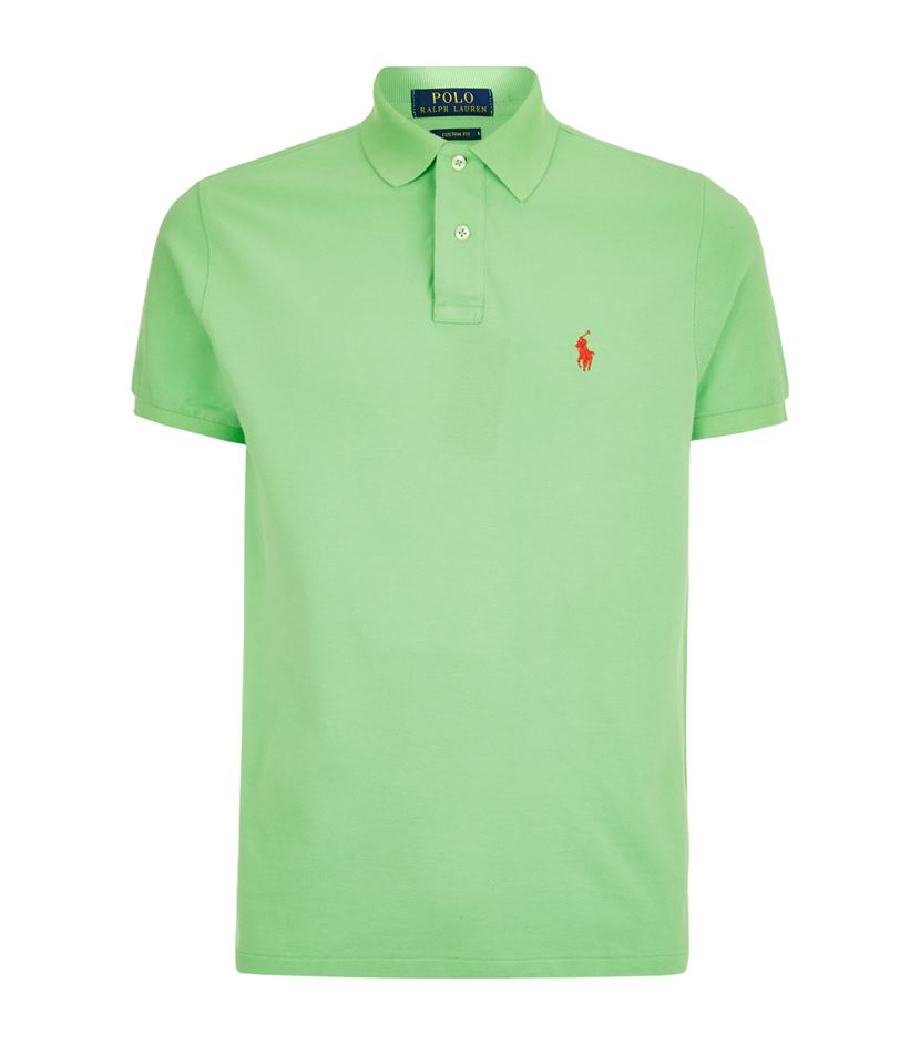 Polo ralph lauren custom fit logo polo shirt in green for for Personalised logo polo shirts