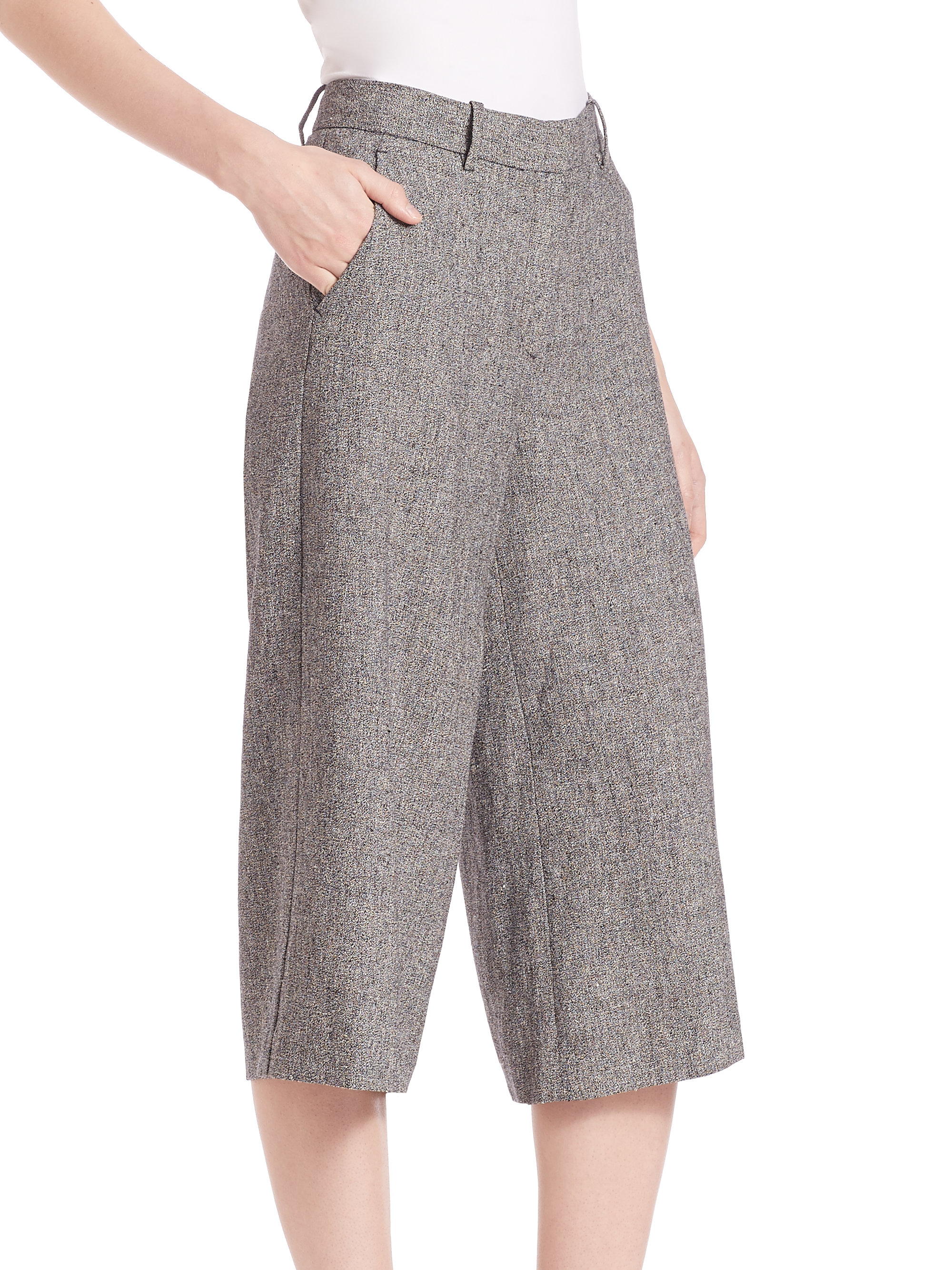 Lyst Theory Halientra Linen Wide Cropped Pants In Black
