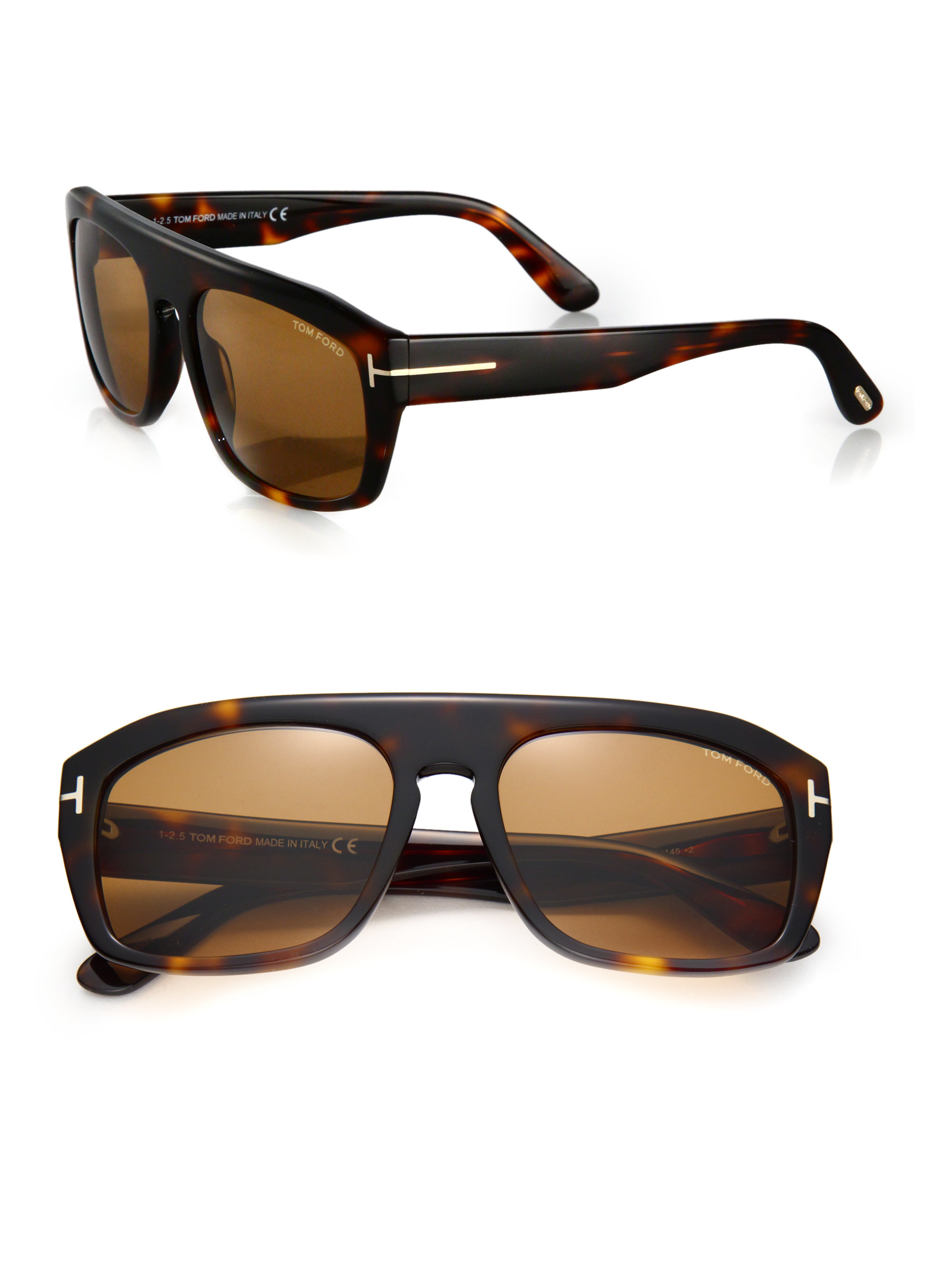 Tom Ford 58mm Square Acetate Sunglasses In Brown For Men