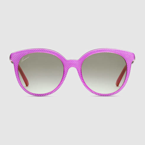 3b624cf422c Lyst - Gucci Round Shape Embossed Sunglasses in Purple