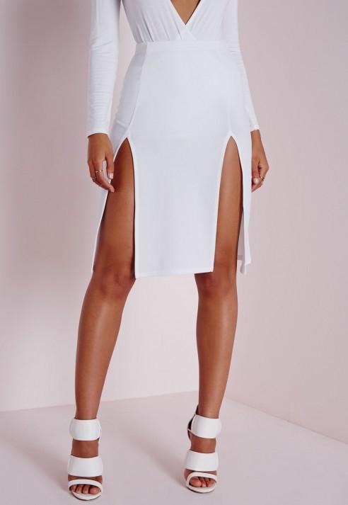 Double Thigh Split Skirt October 2017