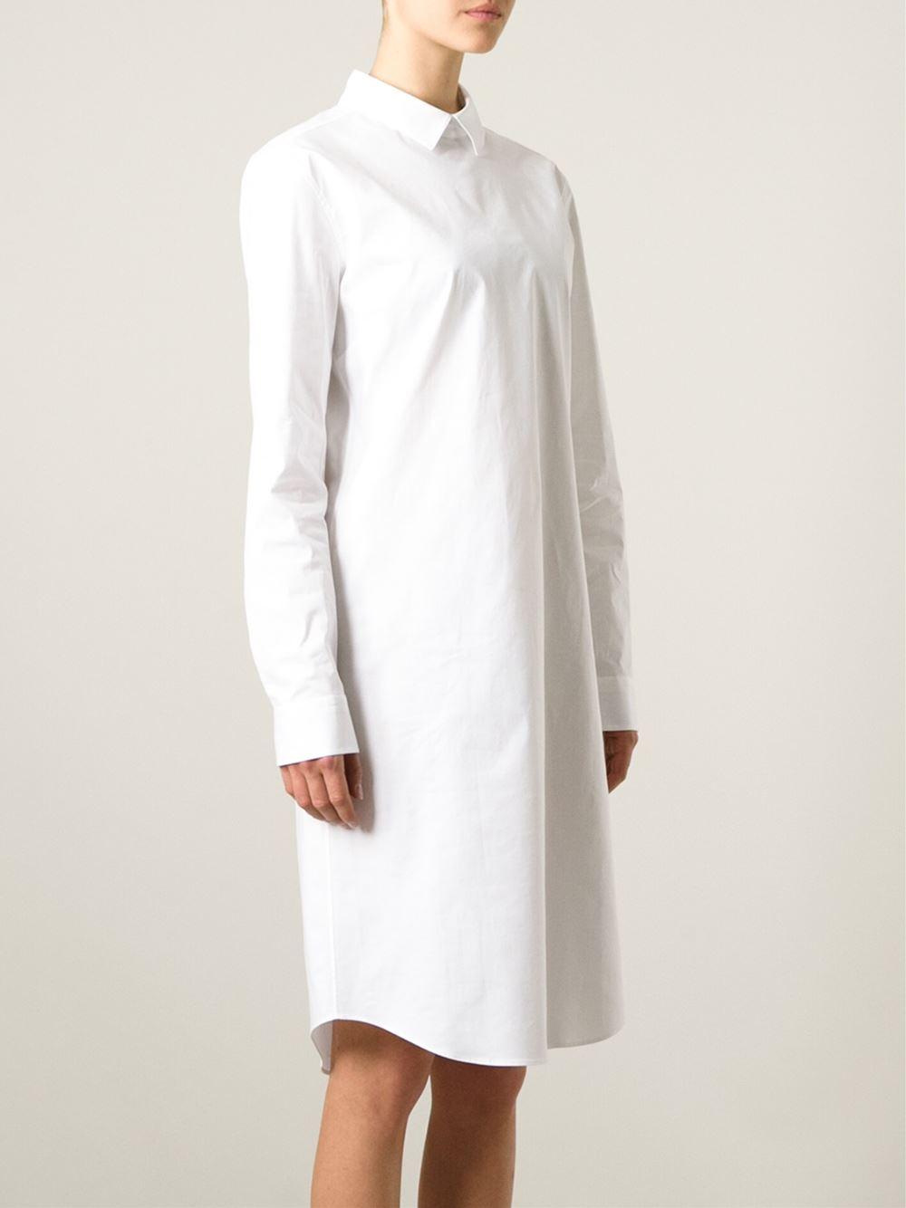Jil sander navy longsleeved shirt dress in white save 60 for White military dress shirt