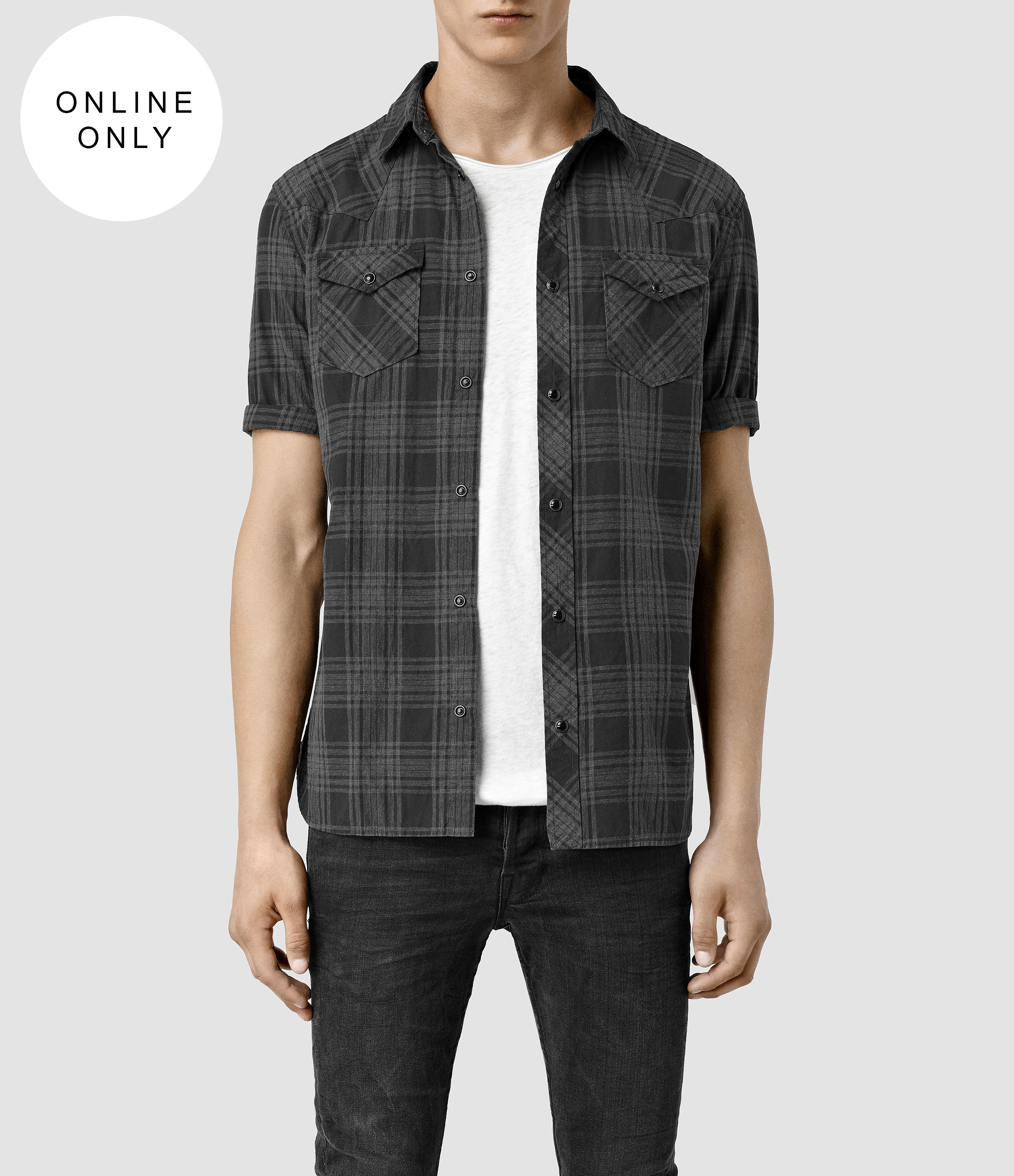 Lyst Allsaints Topeka Half Sleeve Shirt In Black For Men