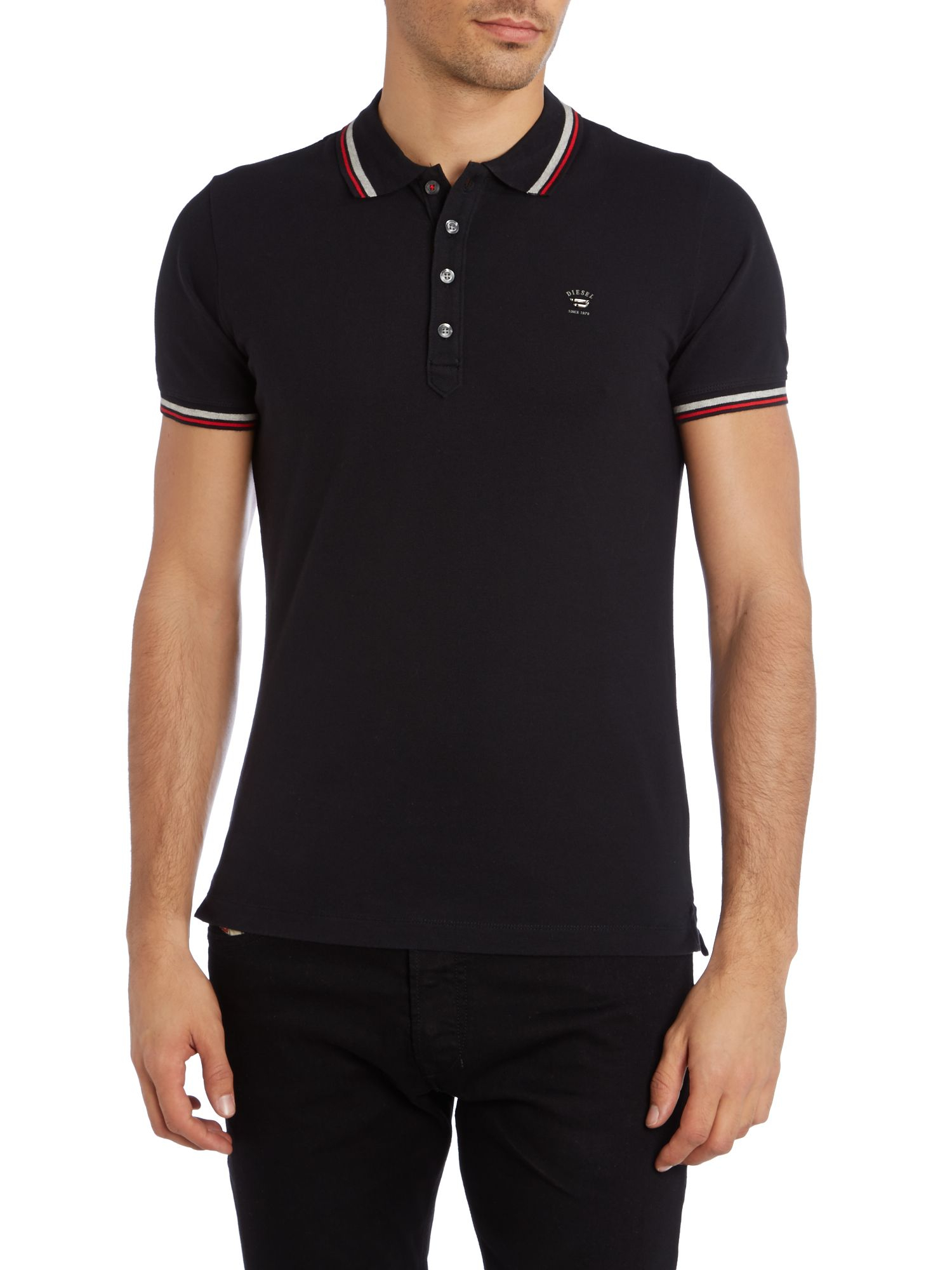 diesel t oin tipped collar polo shirt in black for men lyst. Black Bedroom Furniture Sets. Home Design Ideas