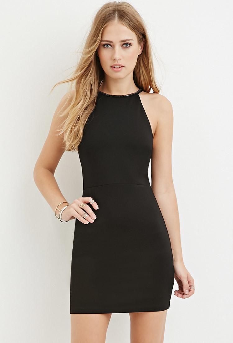 Forever 21 Embellished Bodycon Halter Dress in Black | Lyst - photo #29