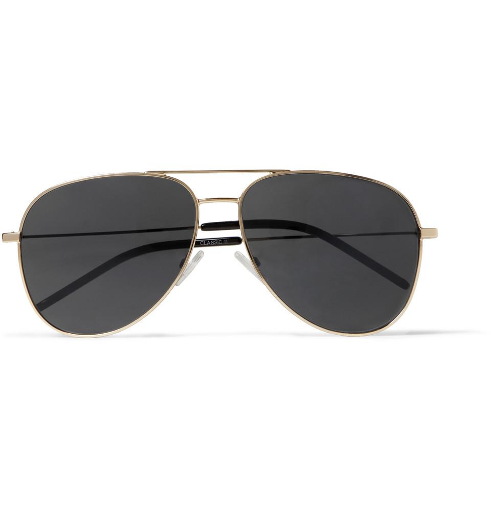 7c2eba2b2d Lyst - Saint Laurent Classic 11 Metal Aviator Sunglasses in Metallic ...