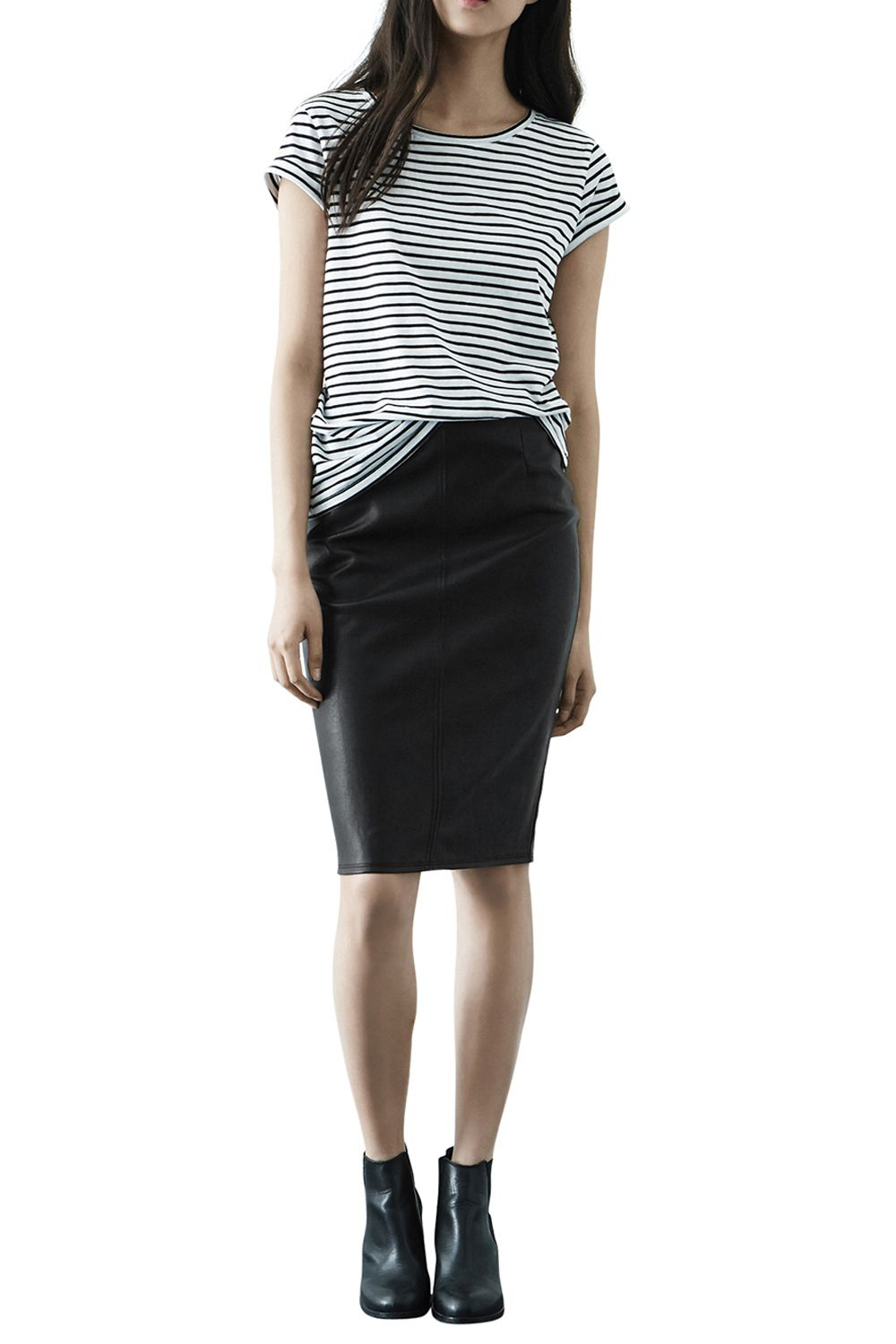 warehouse faux leather pencil skirt in blue lyst