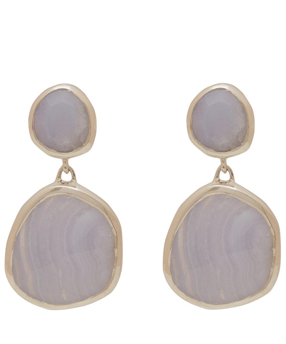 vinader medium silver blue lace agate drop earrings