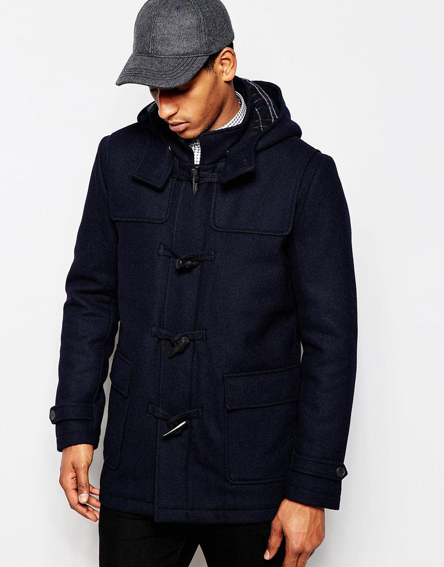 lyst selected wool duffle coat with check lining in blue. Black Bedroom Furniture Sets. Home Design Ideas