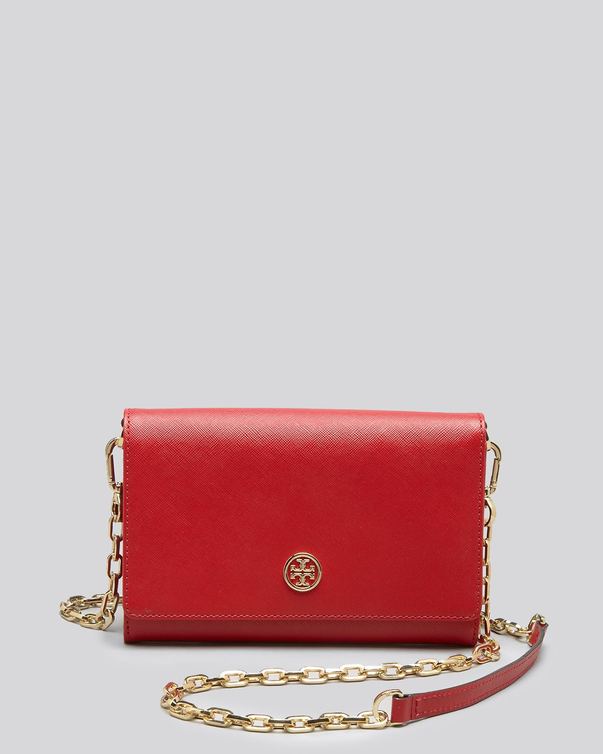 43165666d43 Lyst - Tory Burch Crossbody Robinson Metallic Wallet On A Chain in Red
