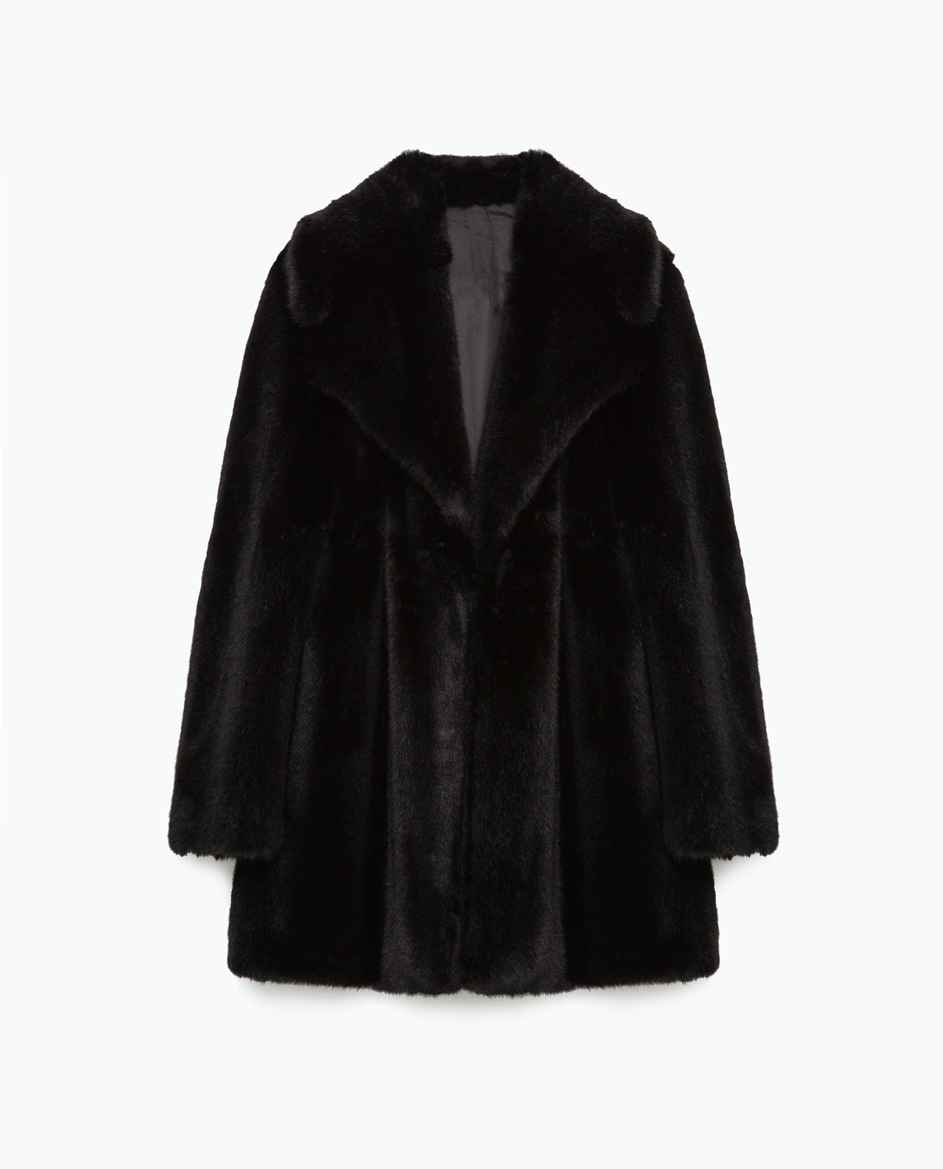 Zara Studio Faux Fur Coat in Black | Lyst
