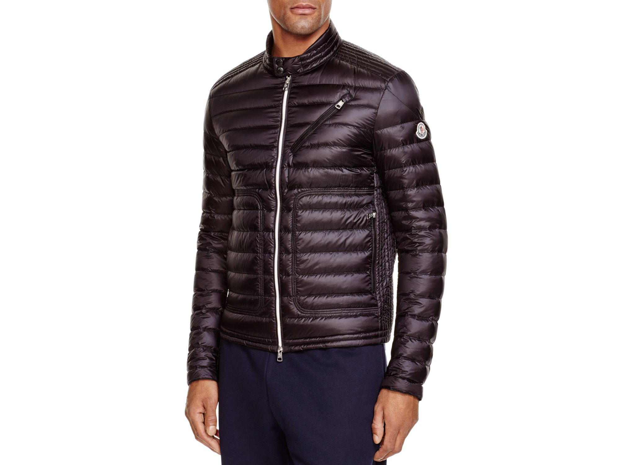 moncler picard moto down jacket in black for men lyst. Black Bedroom Furniture Sets. Home Design Ideas