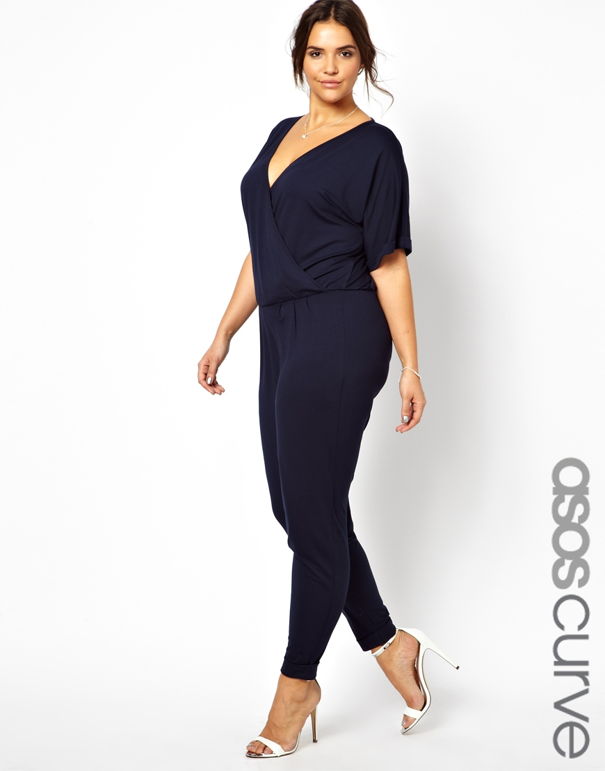 lyst asos exclusive jumpsuit with wrap in blue. Black Bedroom Furniture Sets. Home Design Ideas