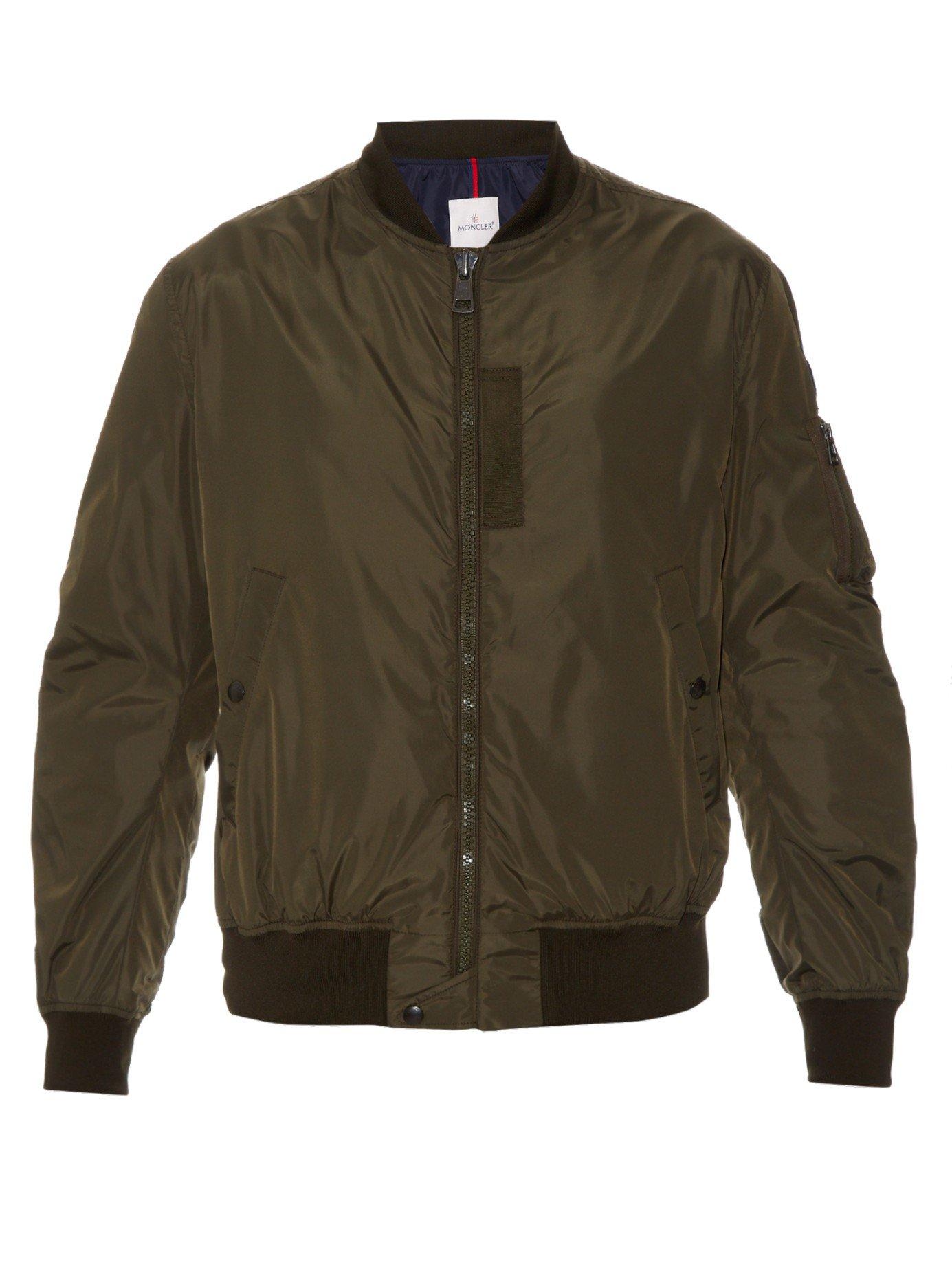 Moncler Zip-through Nylon Jacket in Green for Men | Lyst