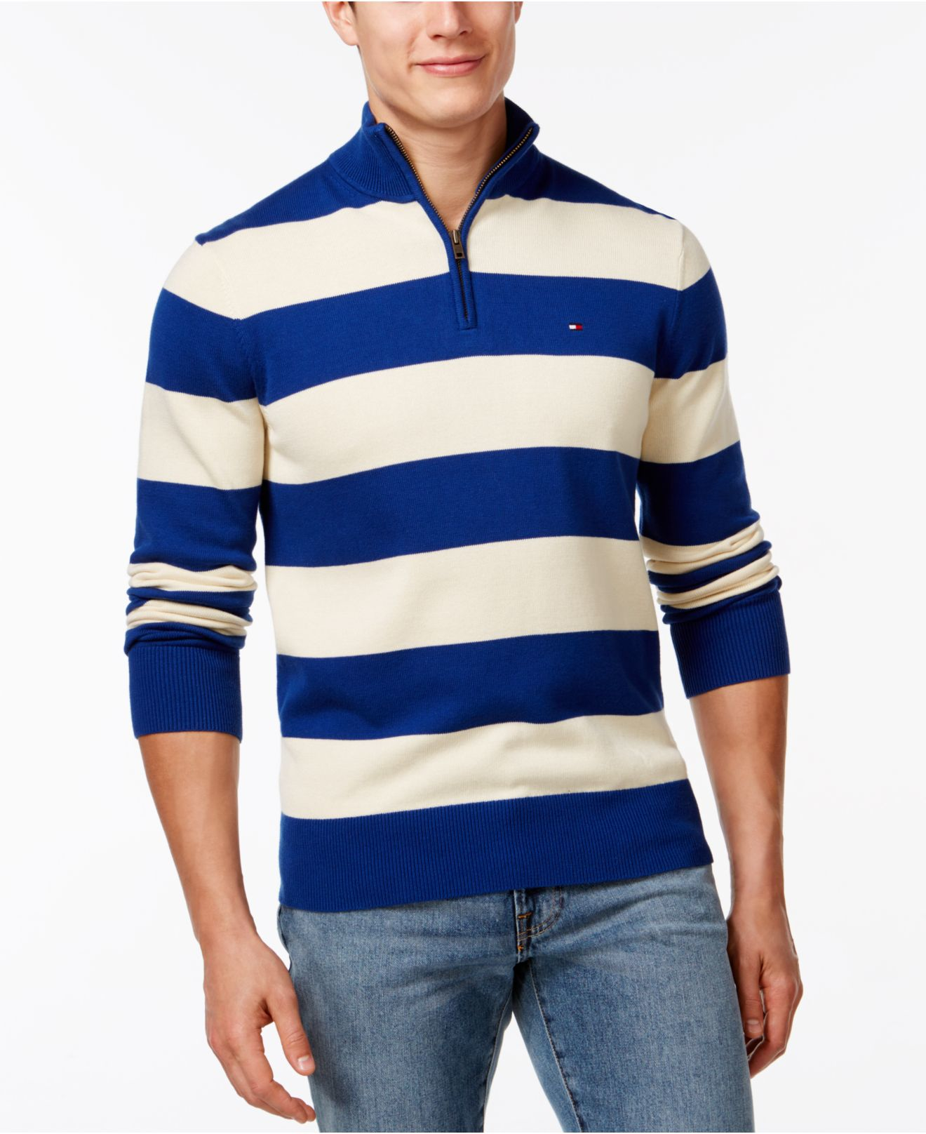 Tommy Hilfiger Rugby-striped Quarter-zip Sweater In