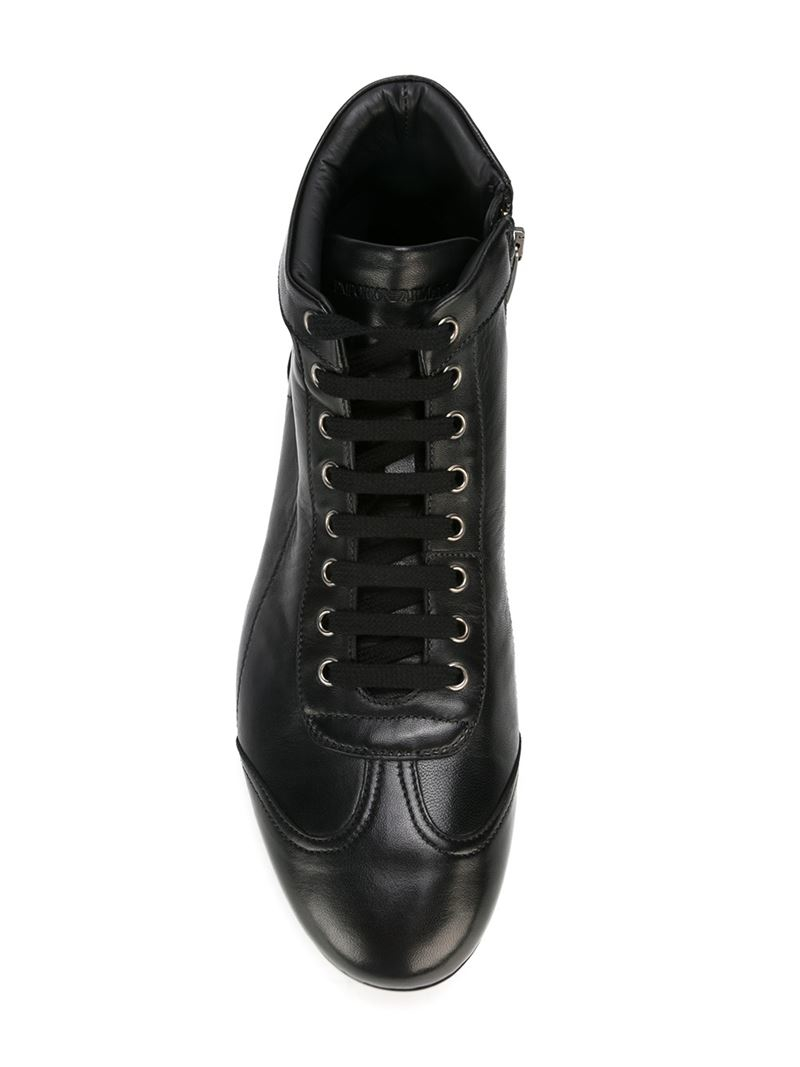 7d8d5df3784 Lyst - Emporio Armani Lace-Up Leather High-Top Sneakers in Black for Men
