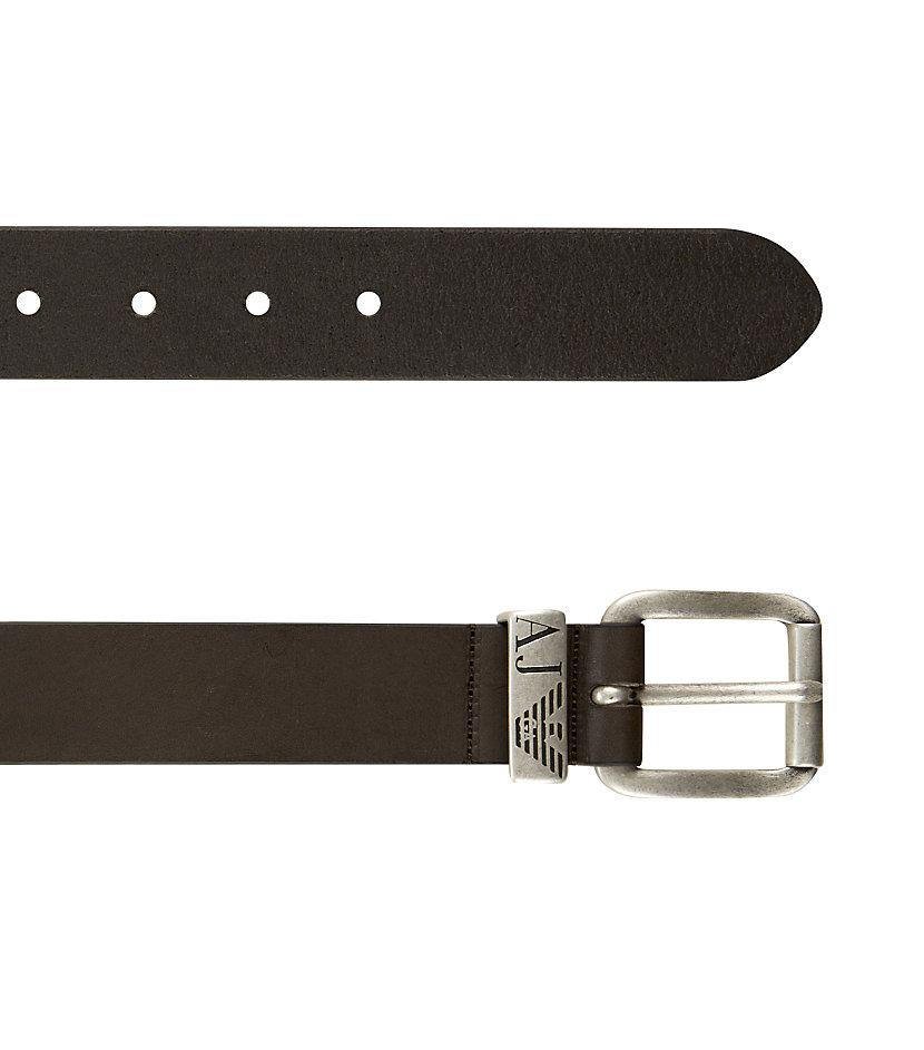 armani aj logo belt in brown for lyst