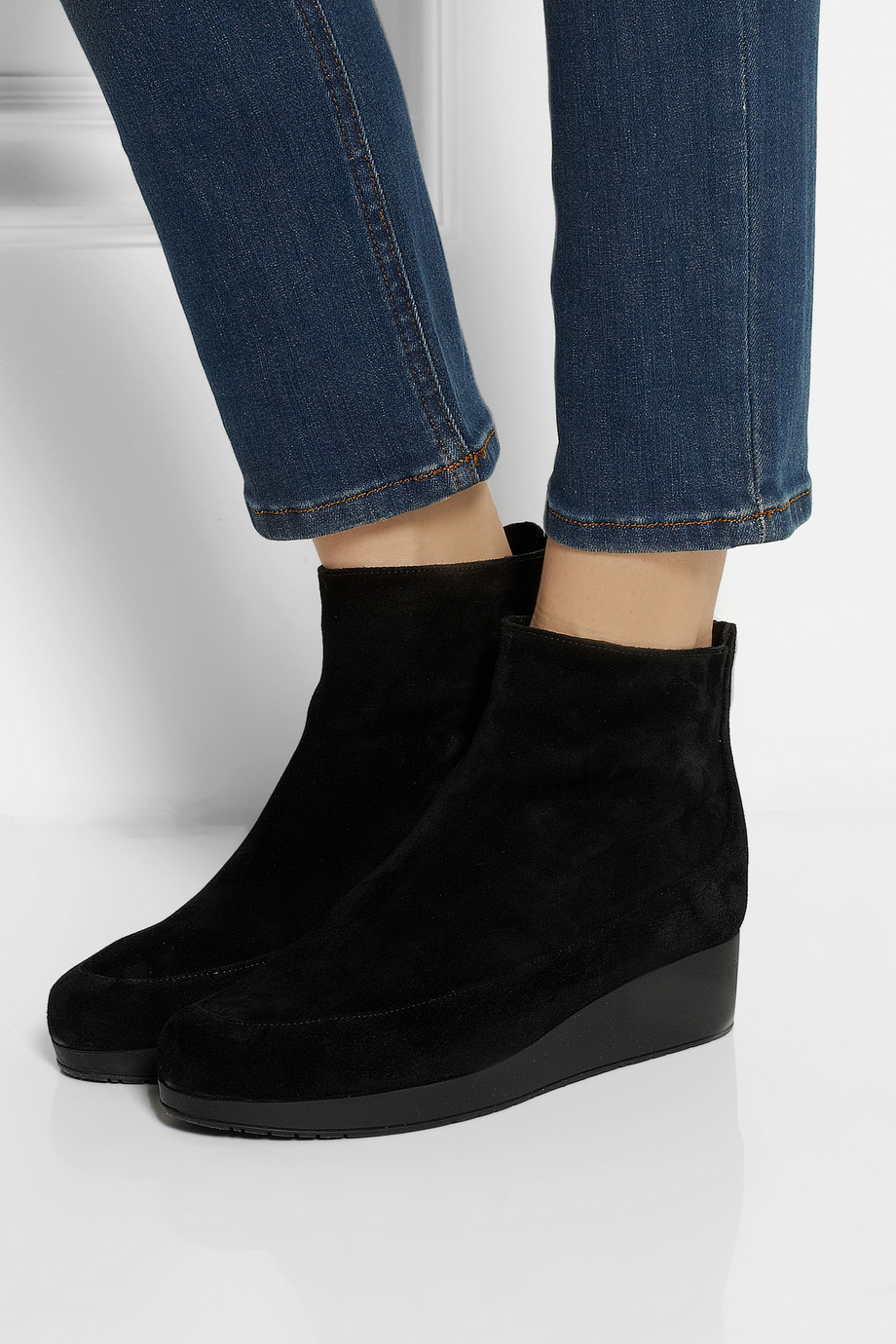 Robert Clergerie Nagil Suede Wedge Ankle Boots In Black Lyst