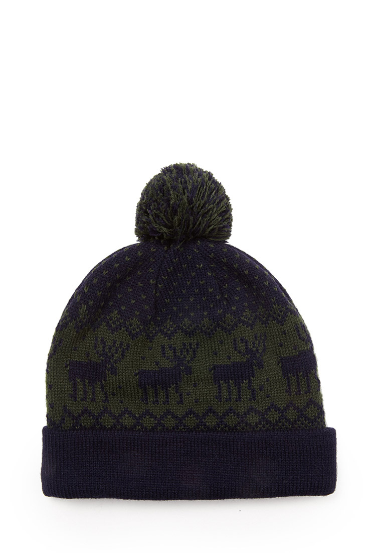 1648b38b48f Lyst - Forever 21 Mixed Print Pom Beanie in Green for Men