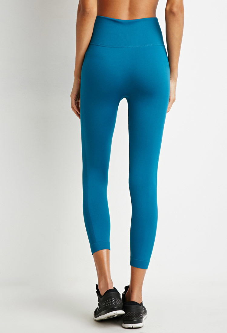 95aaa310a51471 Forever 21 Active Seamless Capri Leggings in Blue - Lyst