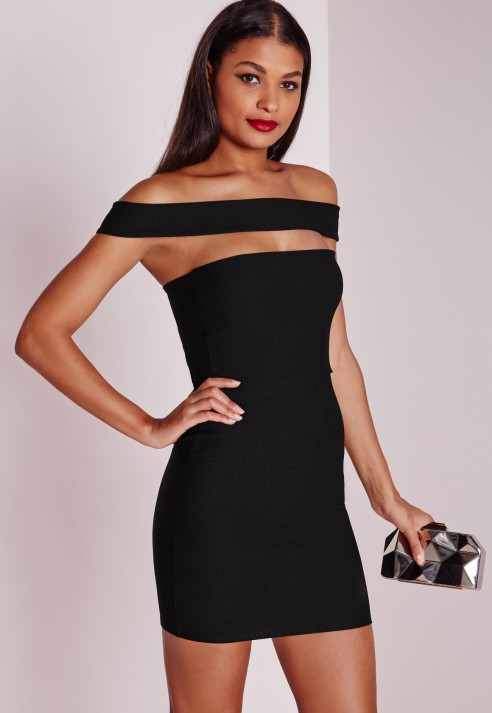Off the shoulder black dress missguided