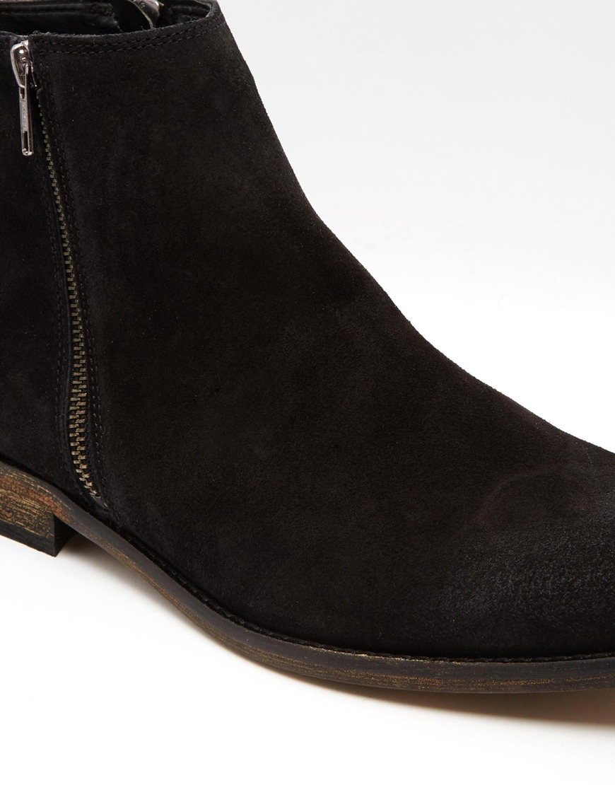 8e44b88a83c ASOS Chelsea Boots In Black Suede With Double Zip for men