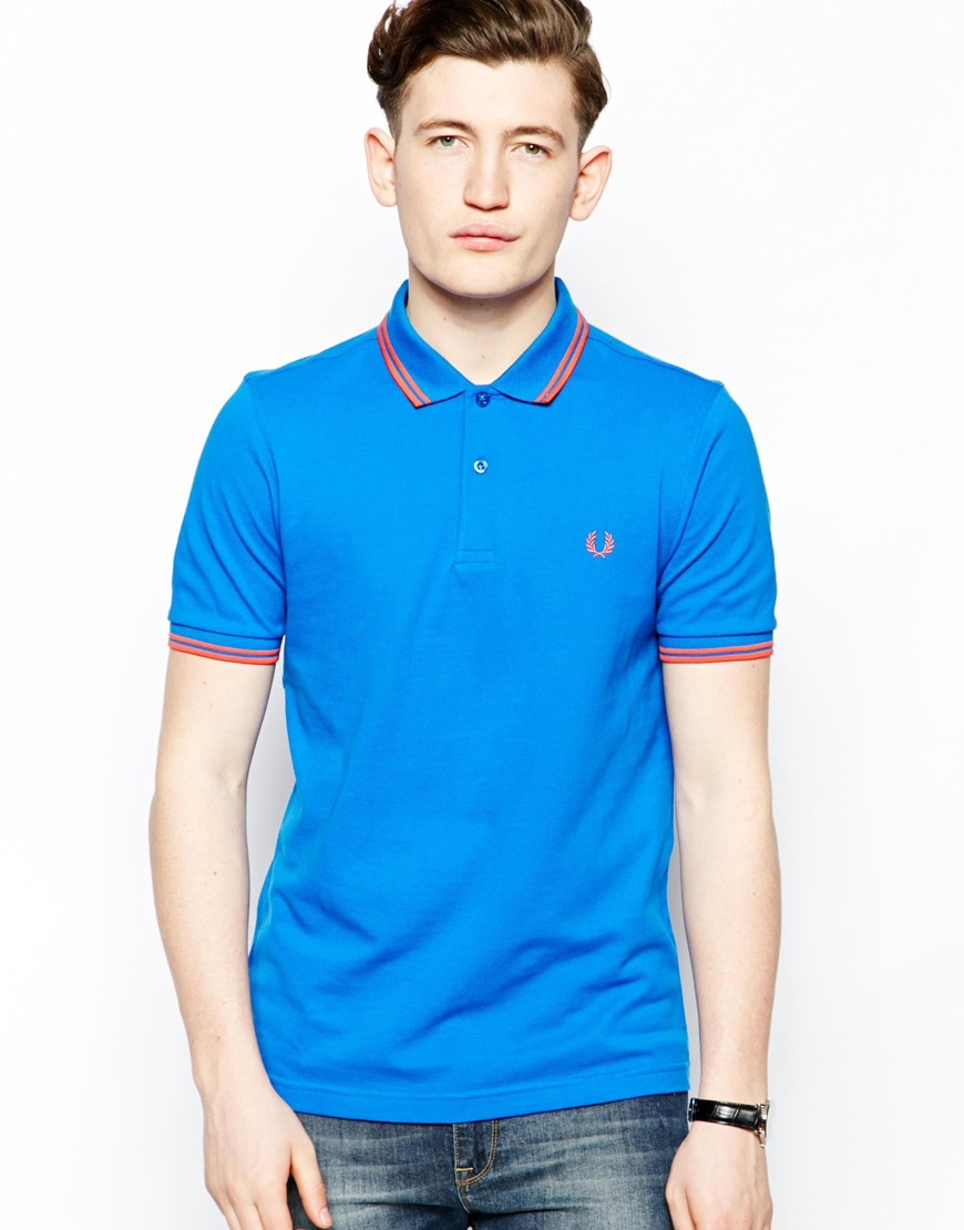 lyst fred perry polo with twin tip in blue for men. Black Bedroom Furniture Sets. Home Design Ideas