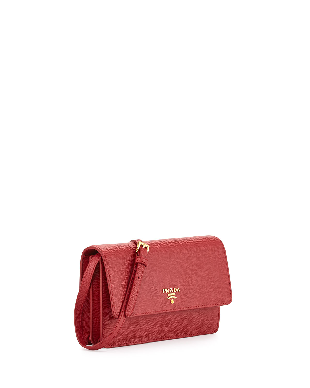 Prada Saffiano Mini Cross-Body Bag in Red | Lyst