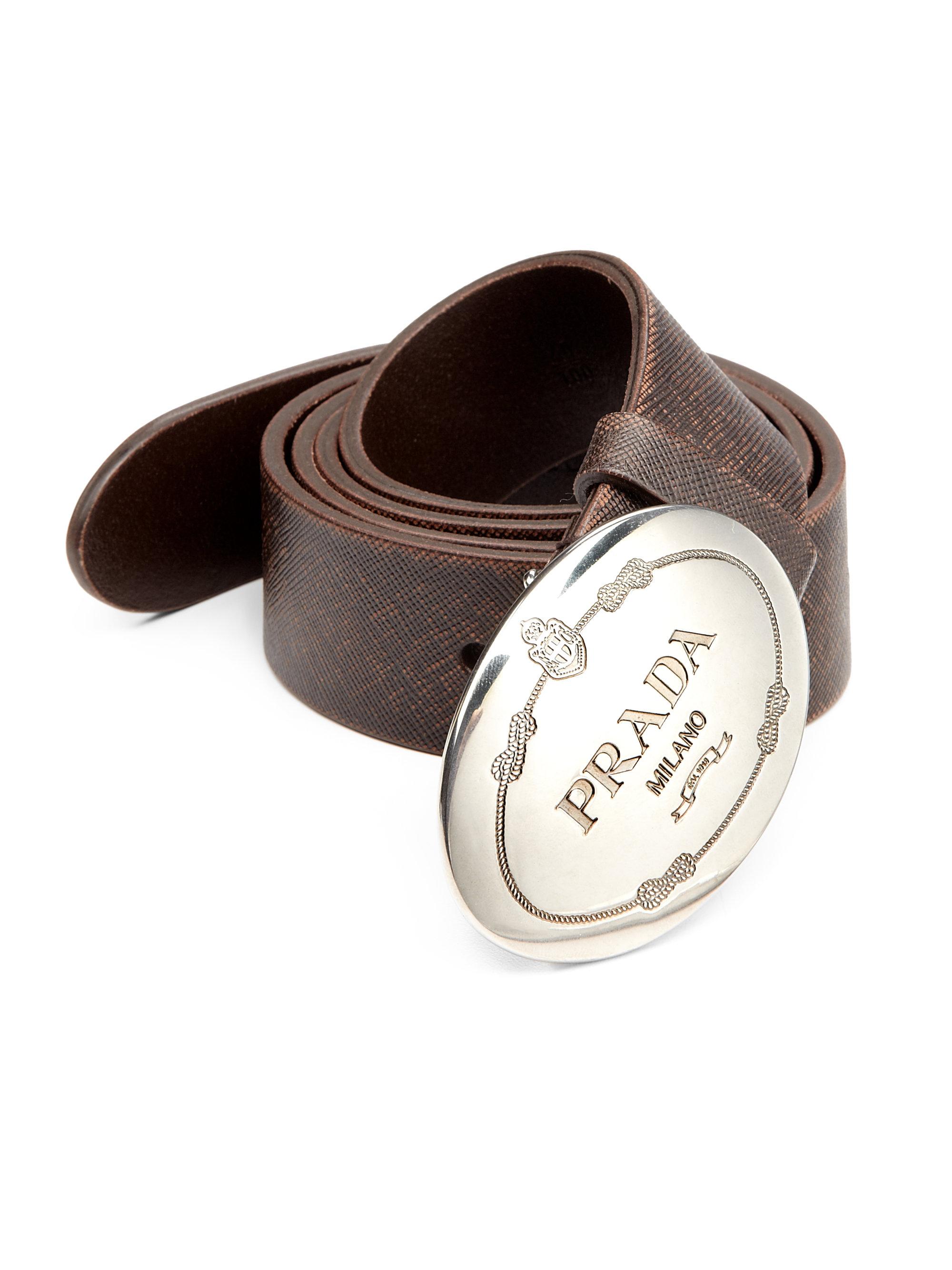 Prada Leather Cinture Belt In Brown For Men