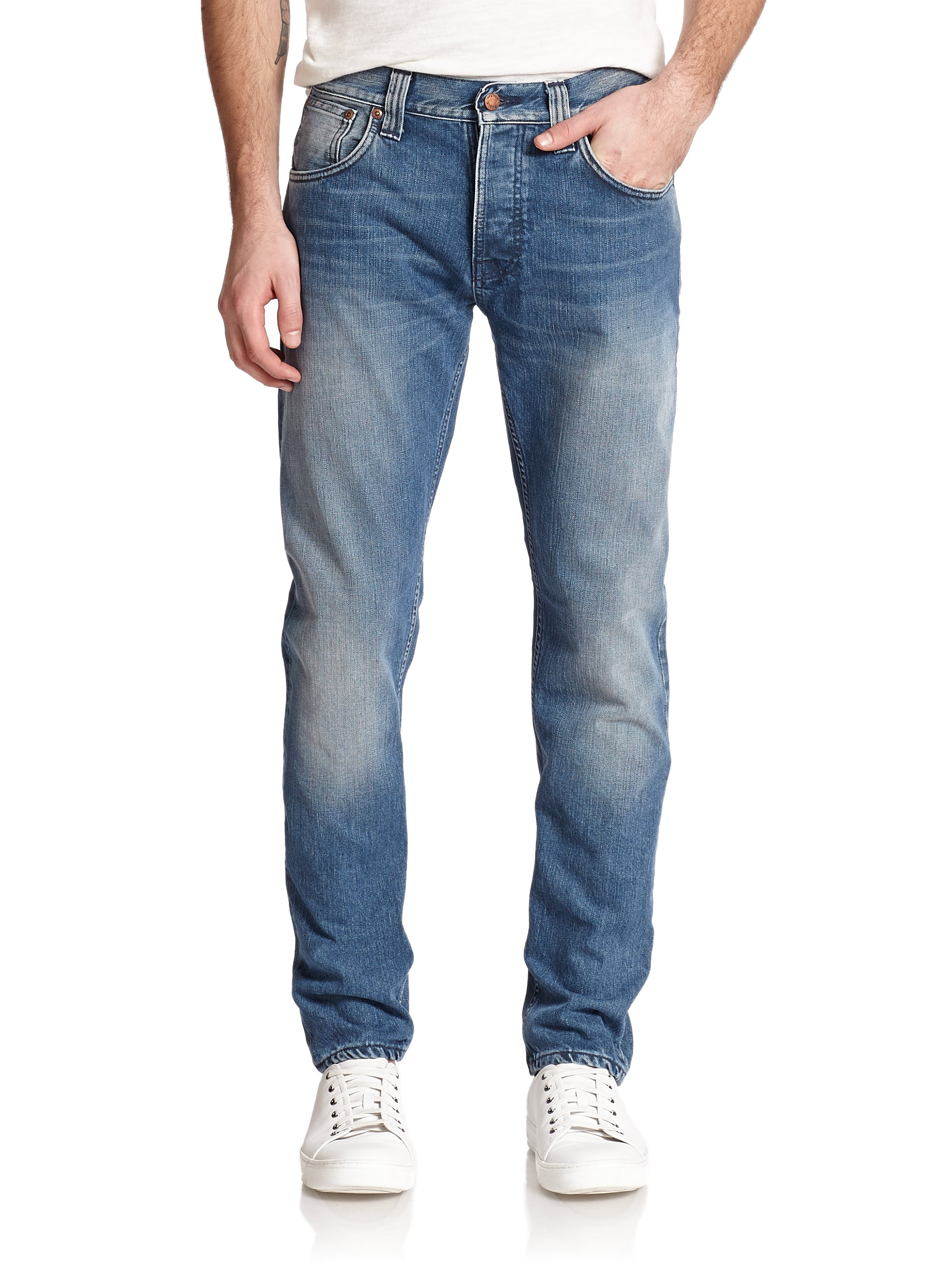 nudie jeans steady eddie tapered straight leg jeans in blue for men lyst. Black Bedroom Furniture Sets. Home Design Ideas
