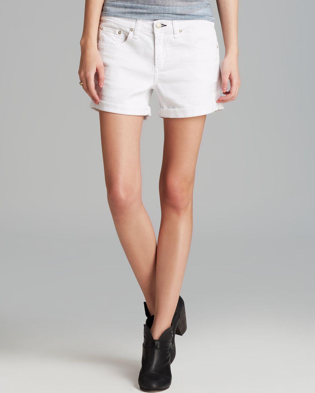 Rag & bone Jean Shorts - Boyfriend In Aged Bright White in White ...