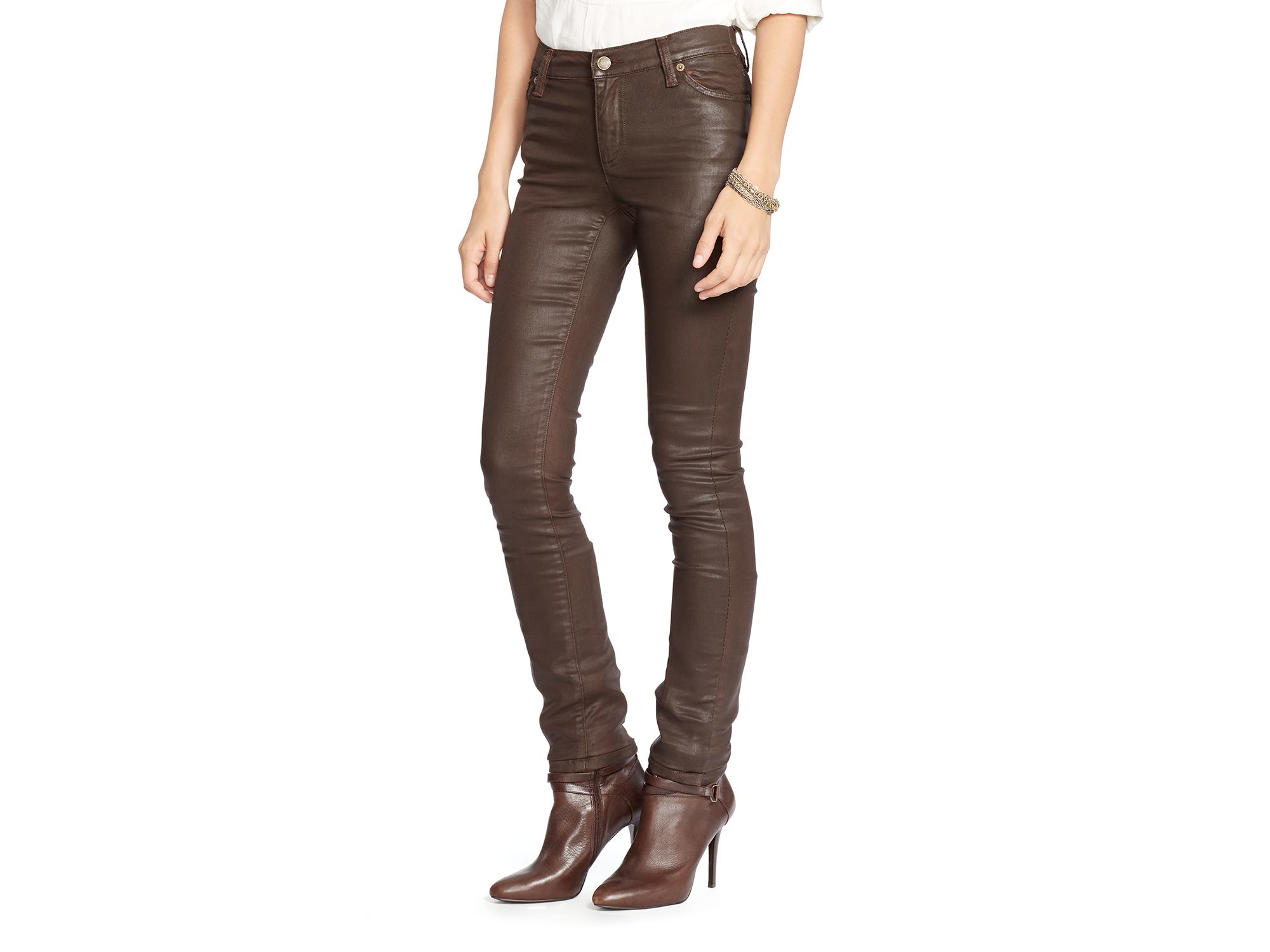 Brown skinny jeans for women