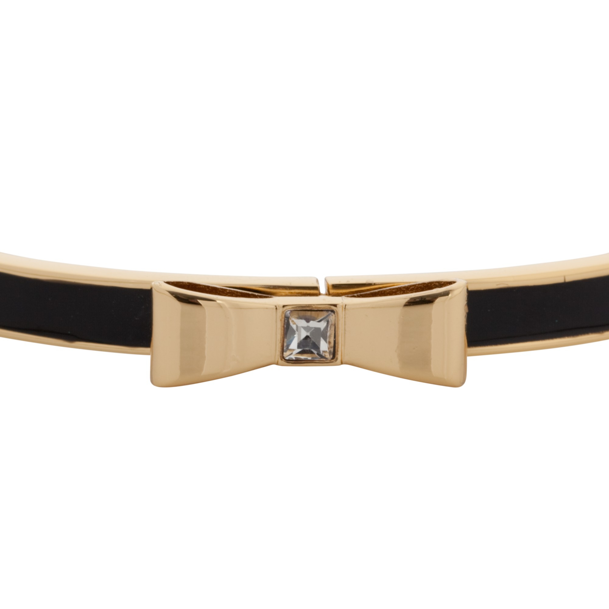 Kate Spade Glass And Enamel Hinged Bow Bangle in Black/Gold (Black)