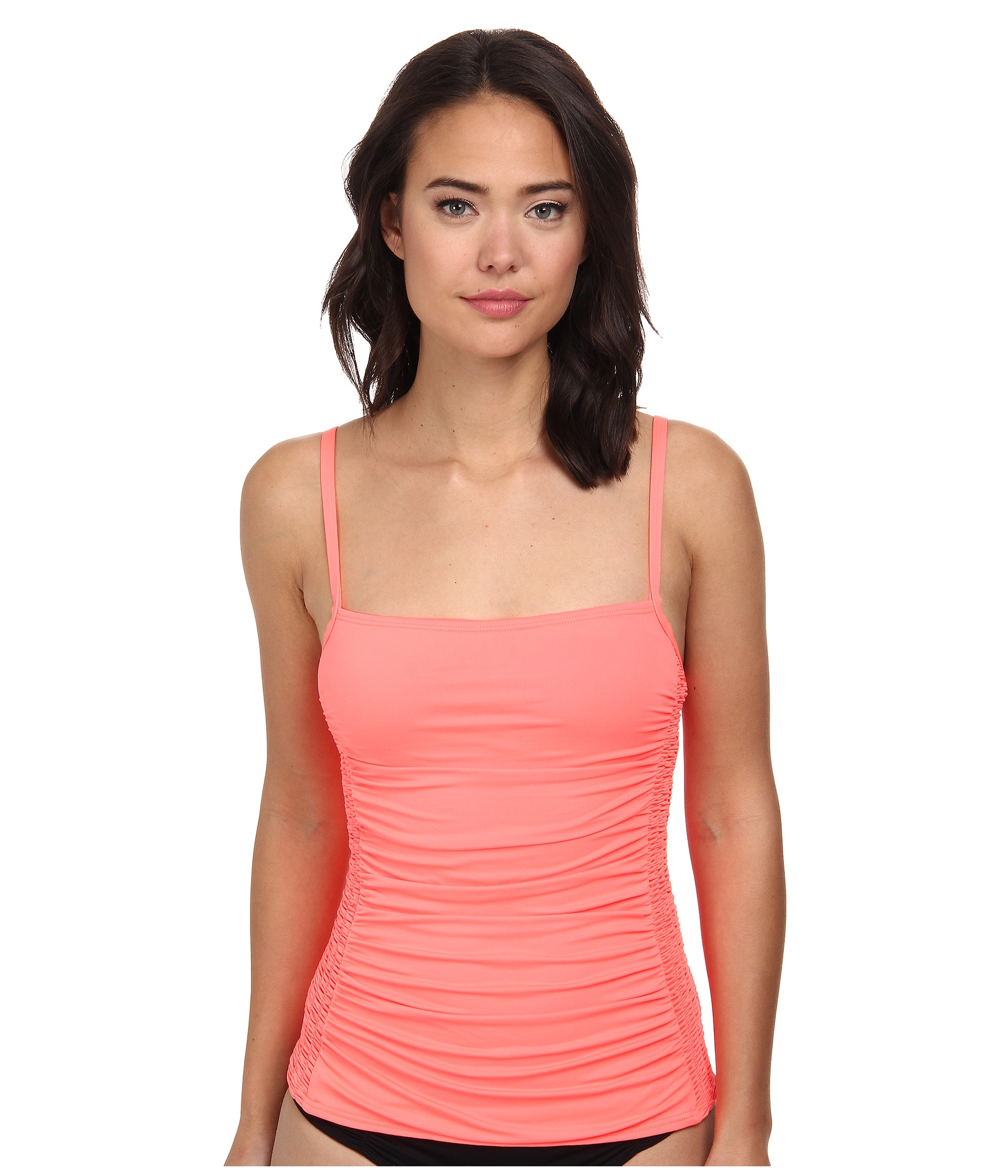 7412ada3faa69 Lyst - DKNY Draped Smocked Tankini Top in Pink