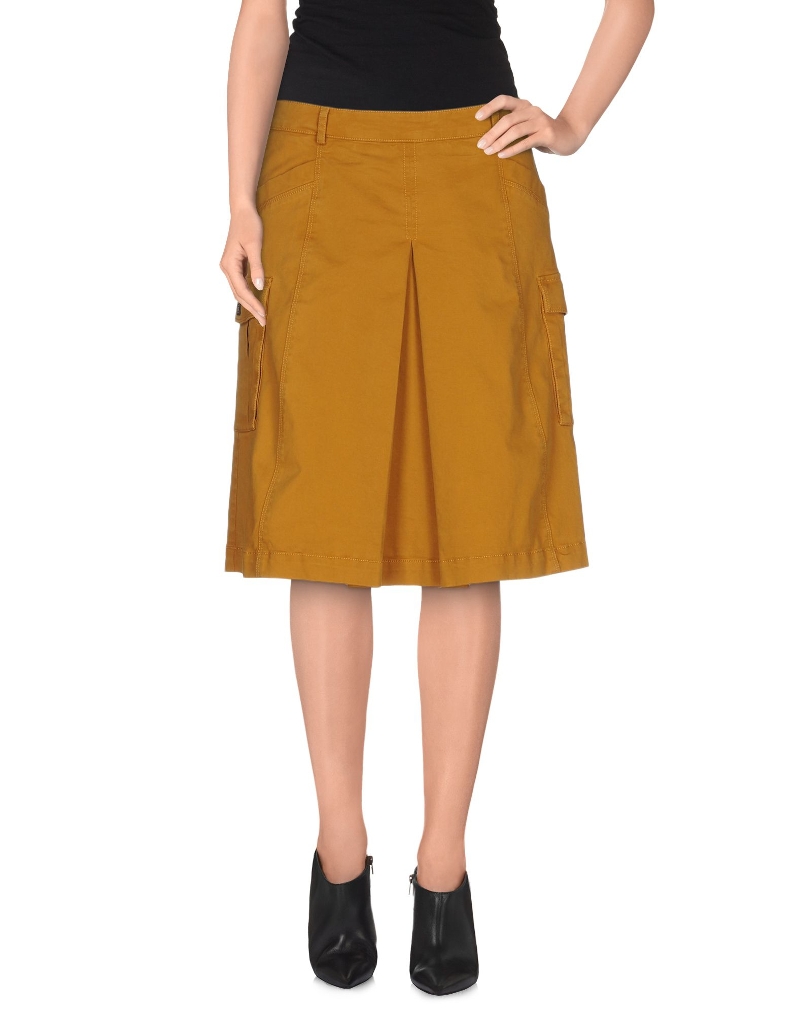 alviero martini 1a classe knee length skirt in brown lyst