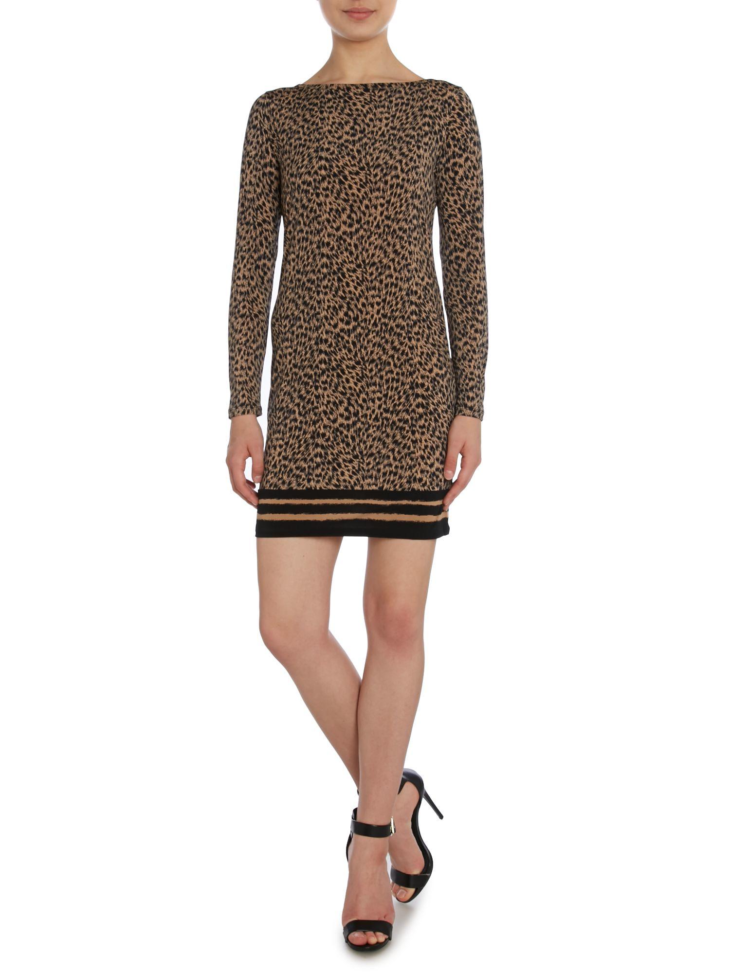 Michael kors Long Sleeve Leopard Print Dress in Green  Lyst