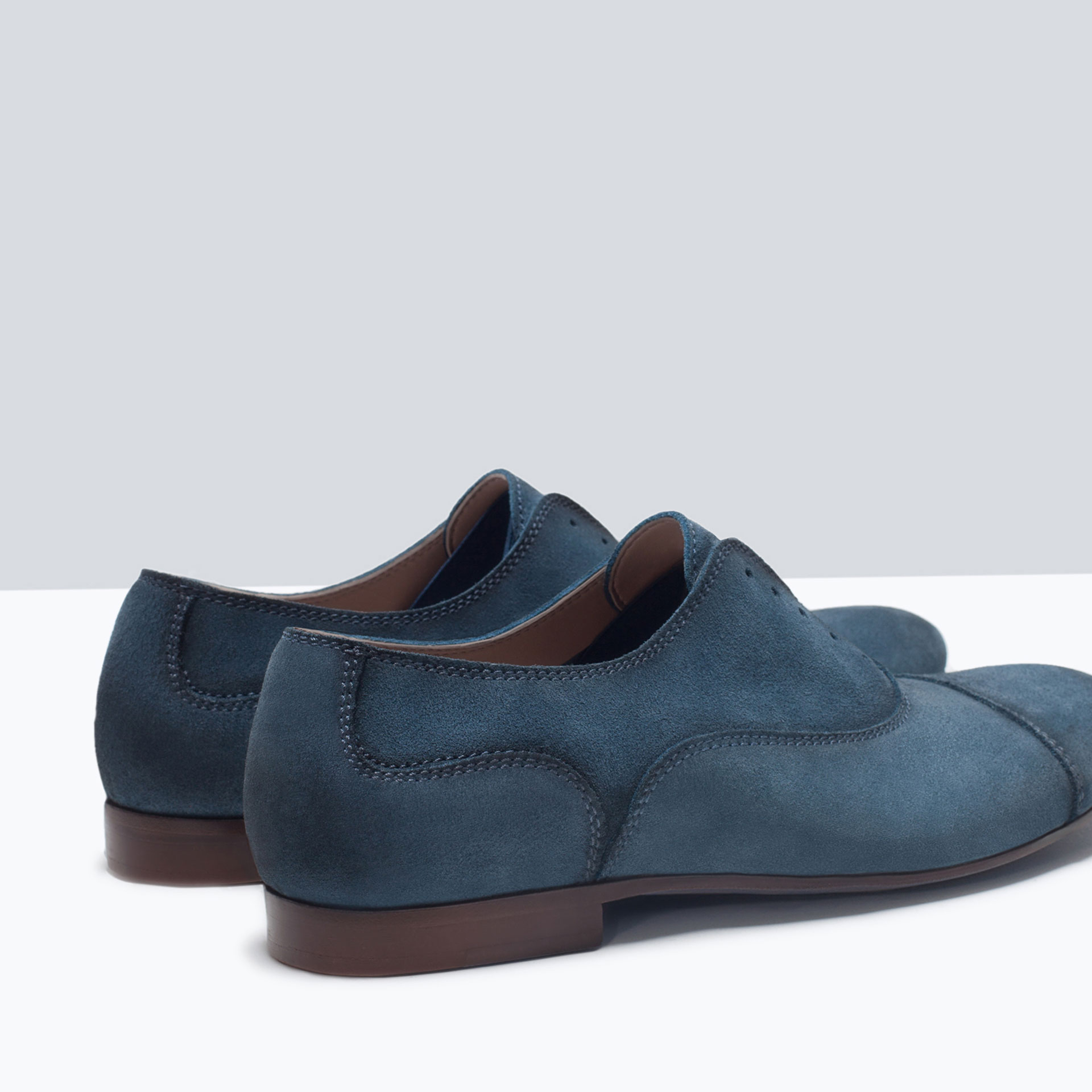 zara leather oxford shoes with stretch detail in blue for