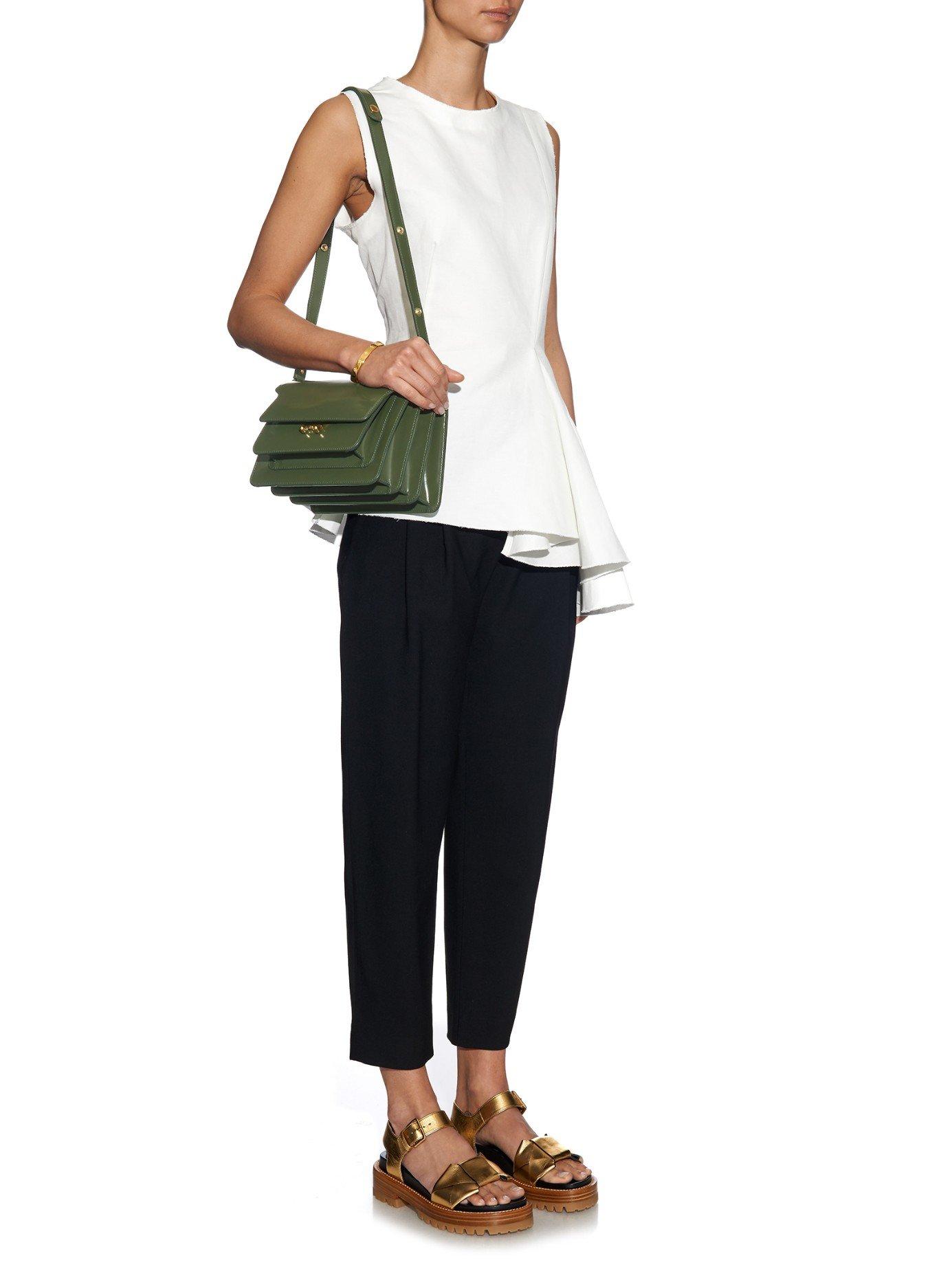Marni Trunk Medium Leather Shoulder Bag in Green