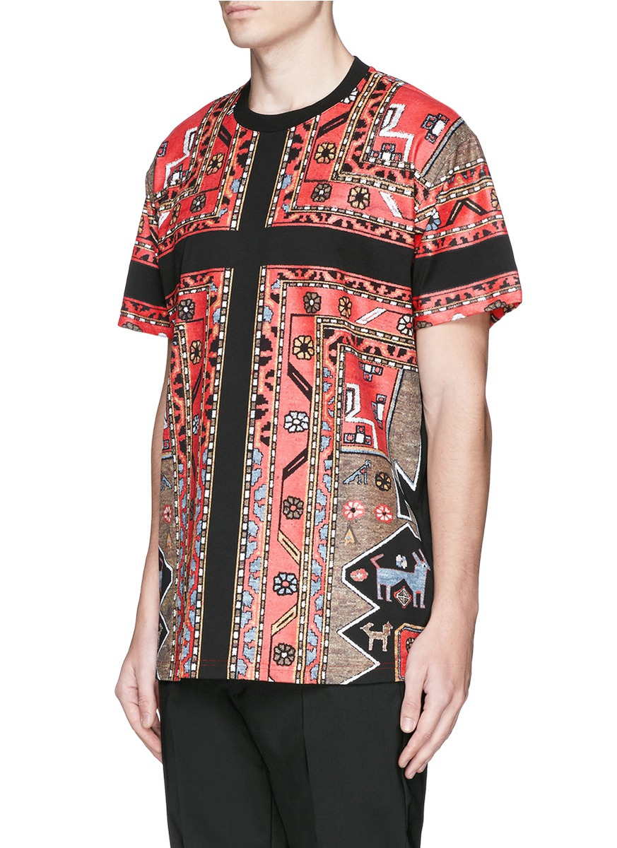 Givenchy persian carpet print t shirt in red for men lyst for Givenchy t shirt man