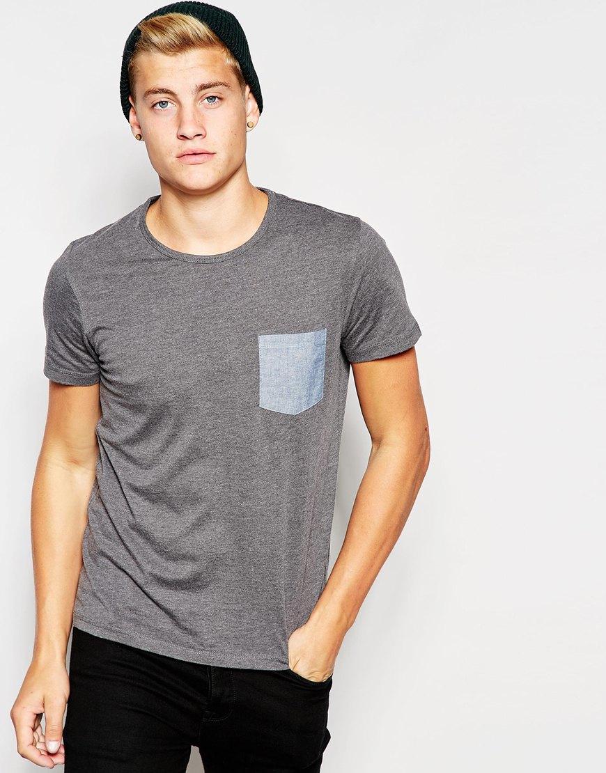 jack jones t shirt with contrast denim pocket in gray. Black Bedroom Furniture Sets. Home Design Ideas