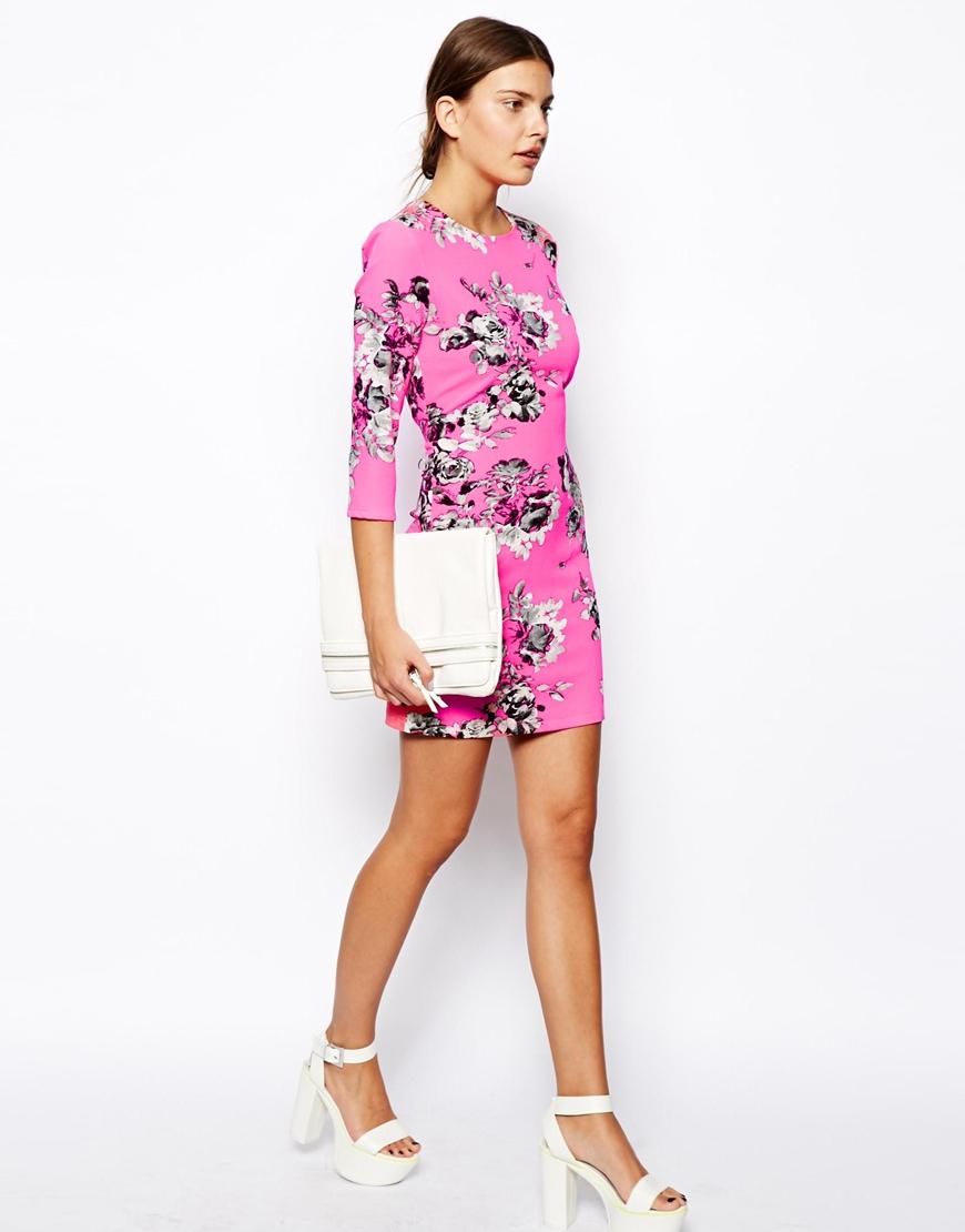 Asos design satin bodycon mini dress in floral print services pattern maternity