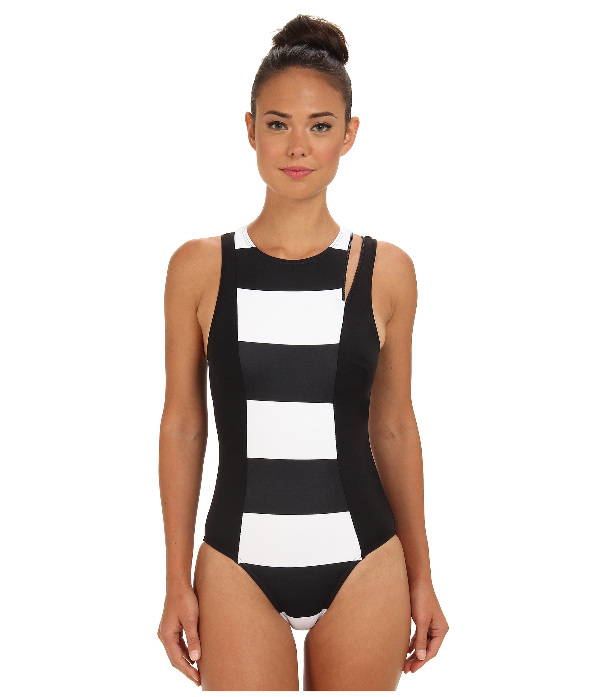 076f44cd7337e DKNY Lorimer Stripe High Neck Maillot W Zipper Detail Removable Soft ...