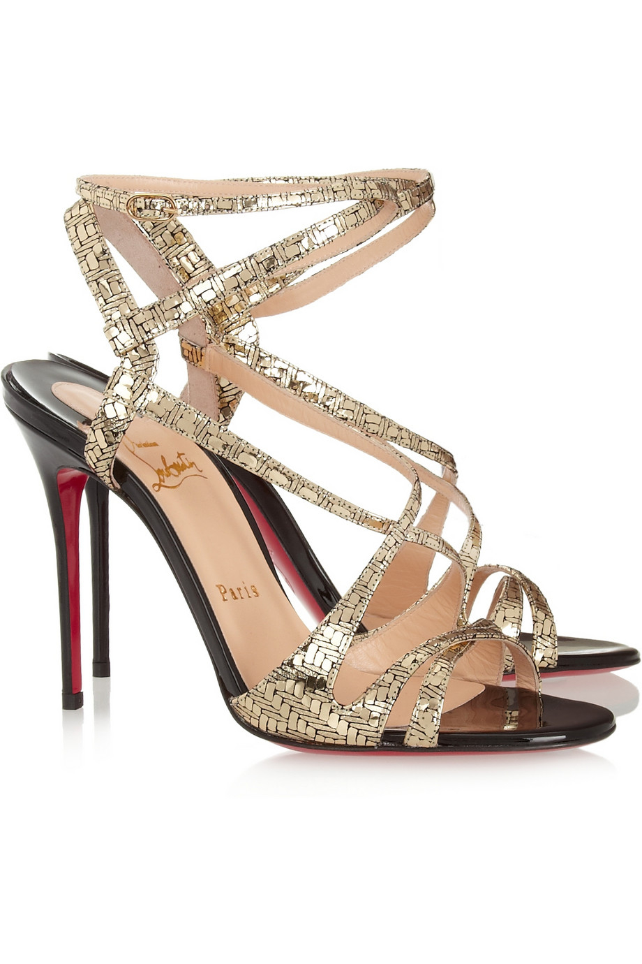 fake christian louboutins online - christian louboutin glitter sandals Metallic gold crossover straps ...