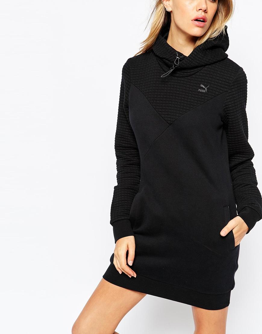 71a2abf275 PUMA Black Quilted Hooded Sweatshirt Dress