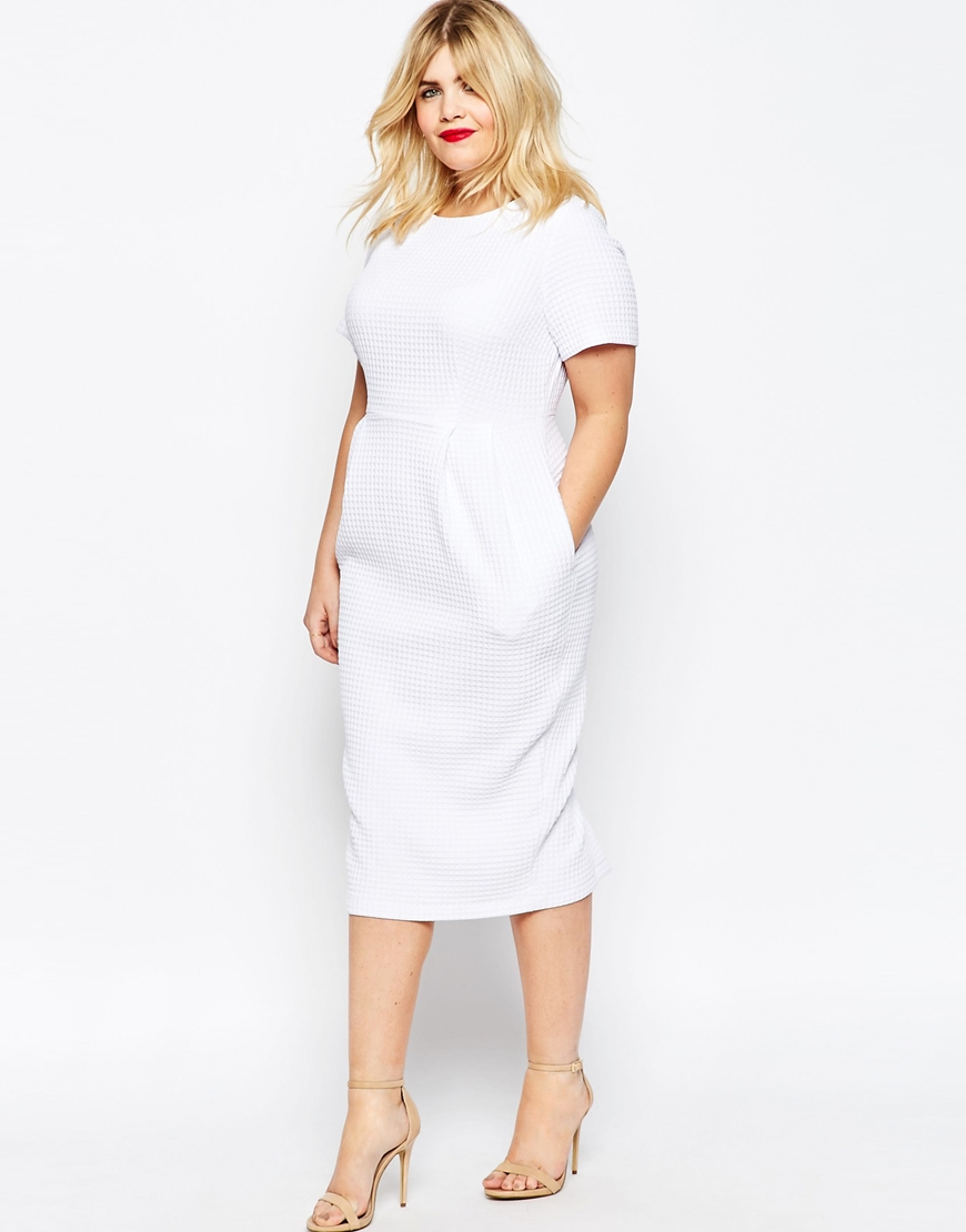 Asos Curve Midi Wiggle Dress In Texture In White Lyst