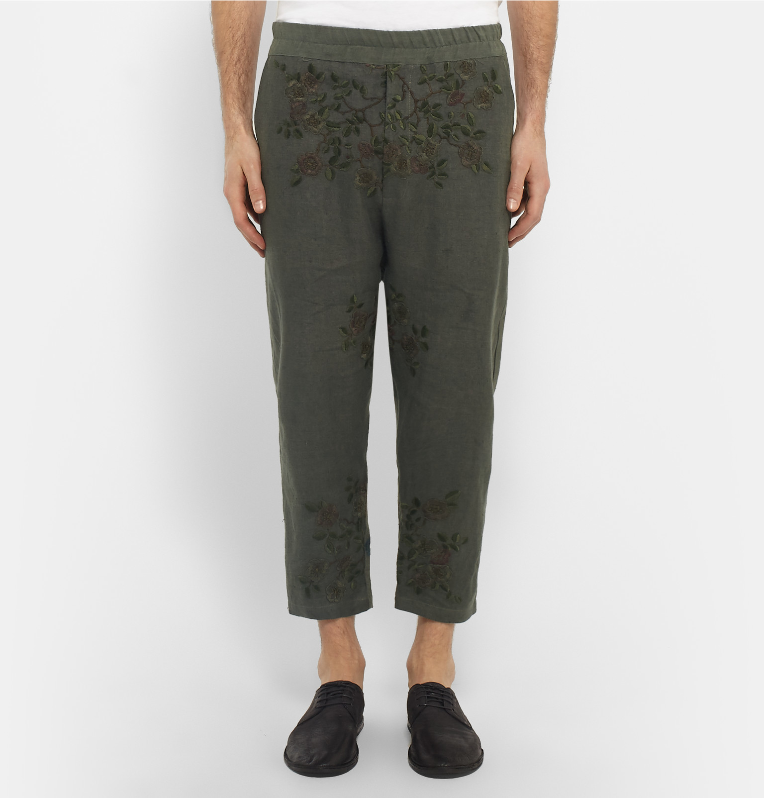 By Walid Morton Embroidered Linen Trousers in Green for Men