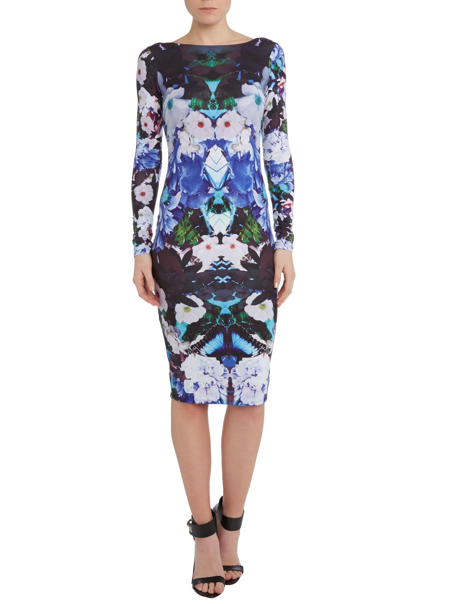 Lipsy Floral Print Long Sleeve Bodycon Dress Lyst